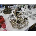 A four piece silver plated tea set on tray