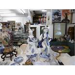 A pair of blue and white capodimonte figural table lamps in form of classical figures both damaged