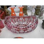 A Bohemian glass cranberry overlay bowl