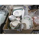 A box of assorted china etc