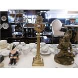 An early Victorian Corinthian column oil lamp,