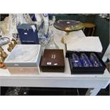 Assorted boxed glassware including Mappin & Webb