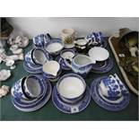 A quantity of blue and white chinaware