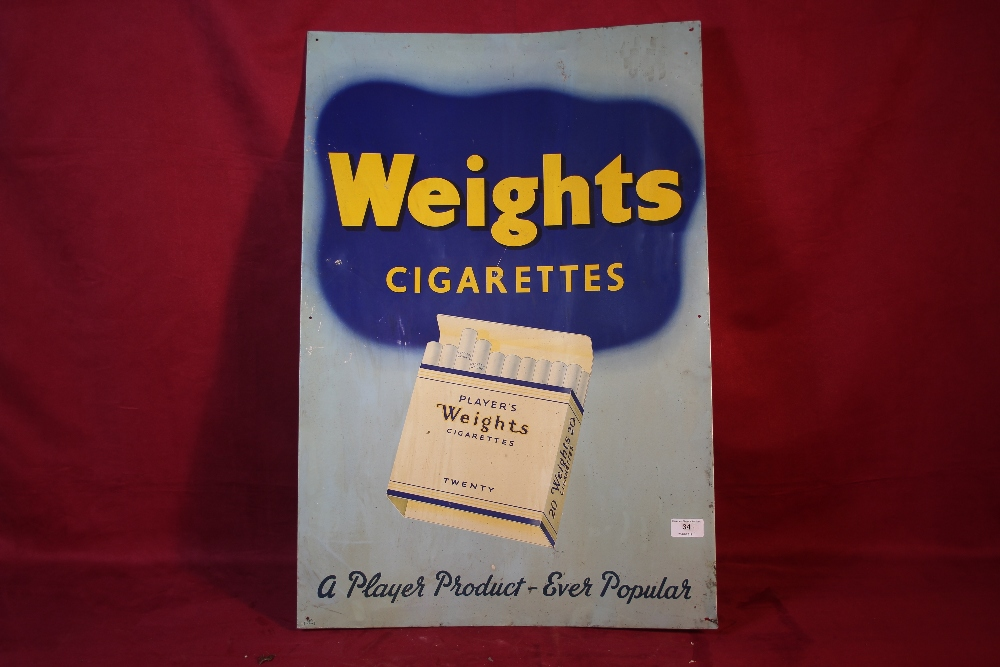 """Lot 34 - A """"Player's Weights Cigarettes"""", tin advertising sig"""