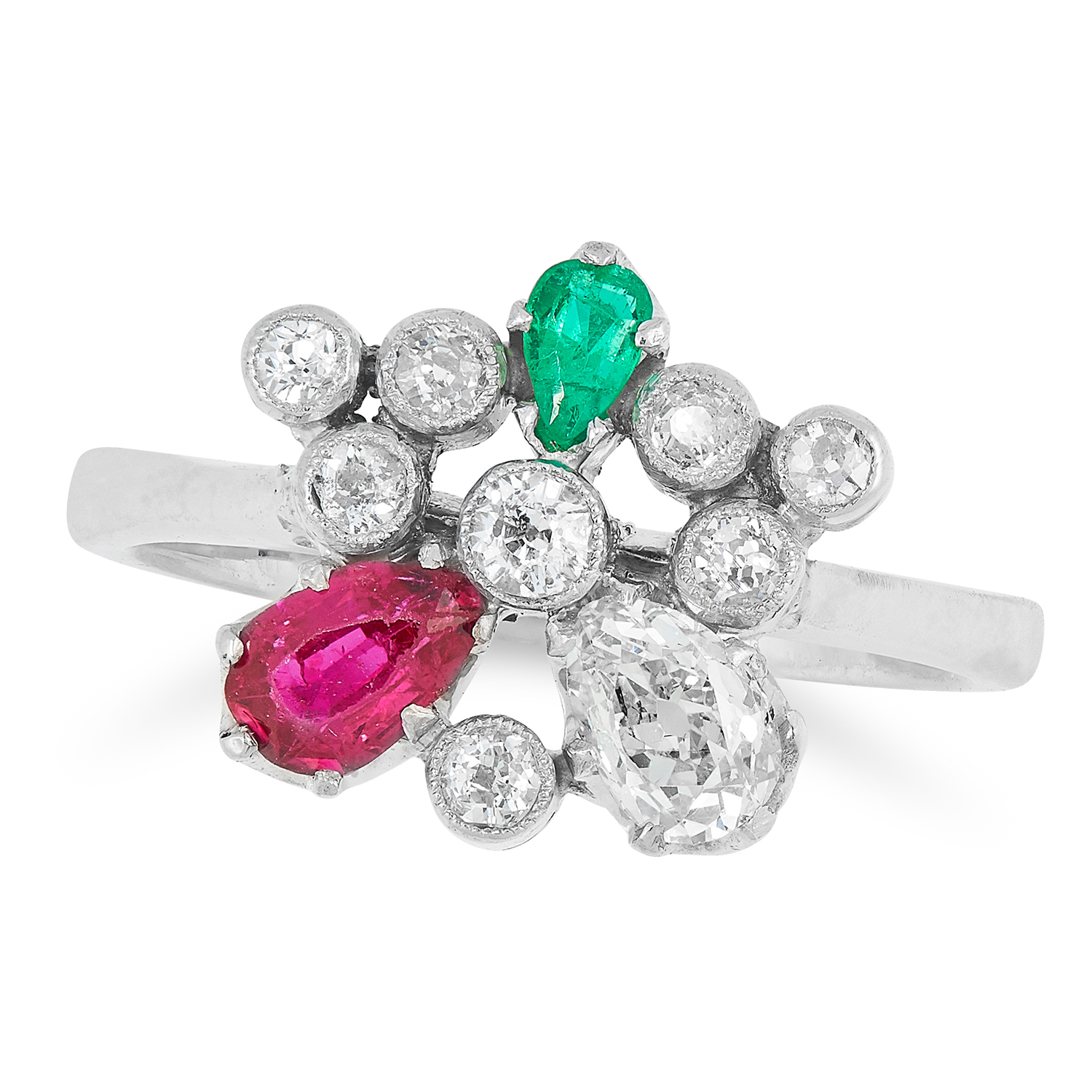 A DIAMOND, RUBY AND EMERALD RING in cluster form set with round cut diamonds and a pear cut ruby,