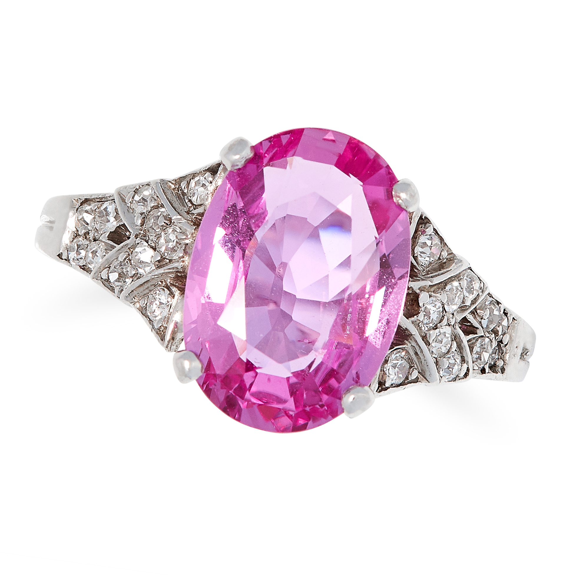 Los 7 - AN UNHEATED 3.76 CARAT PINK SAPPHIRE AND DIAMOND RING set with an oval cut pink sapphire of 3.76