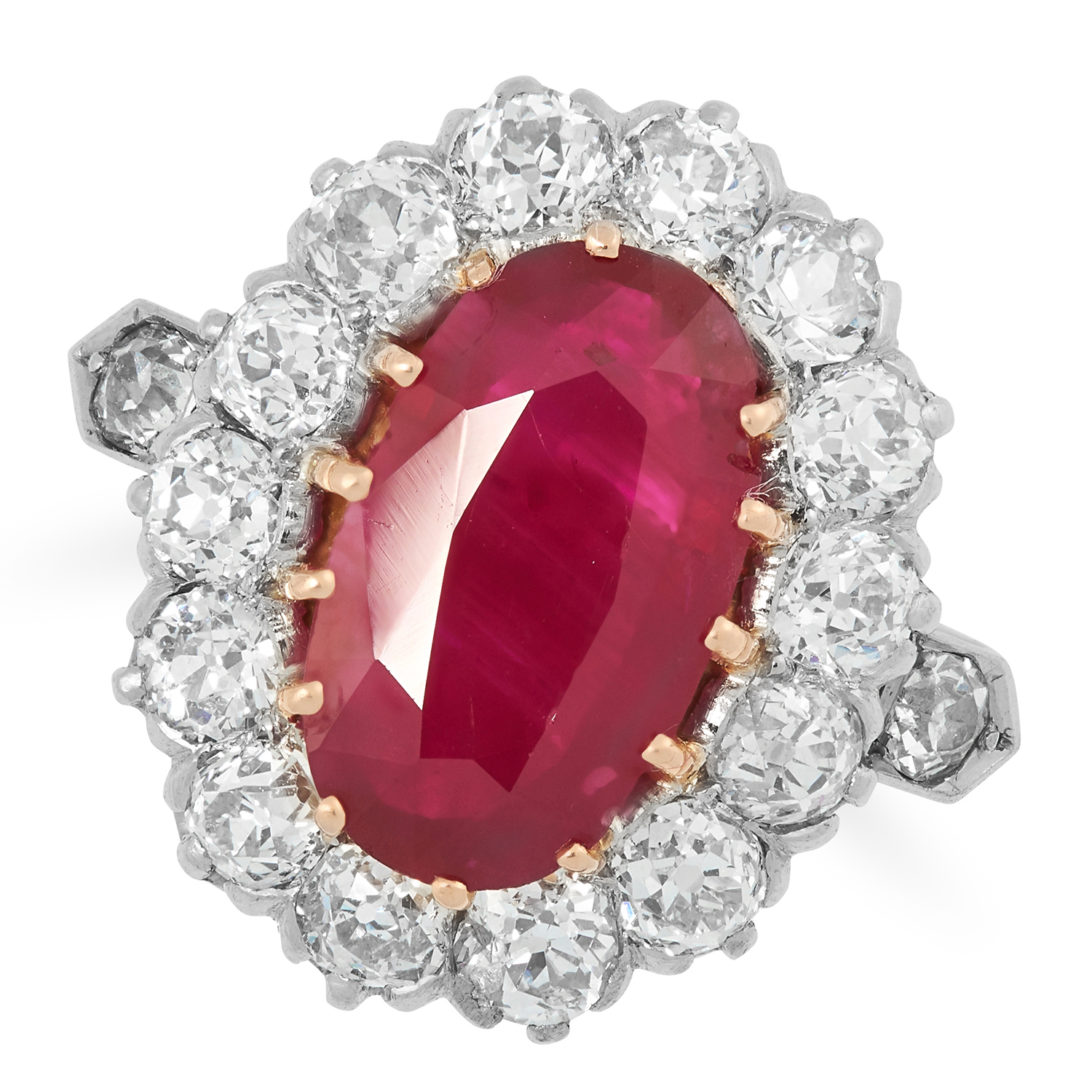 Los 23A - A BURMA NO HEAT RUBY AND DIAMOND RING set with an oval cut ruby of 2.10 carats encirlced by old