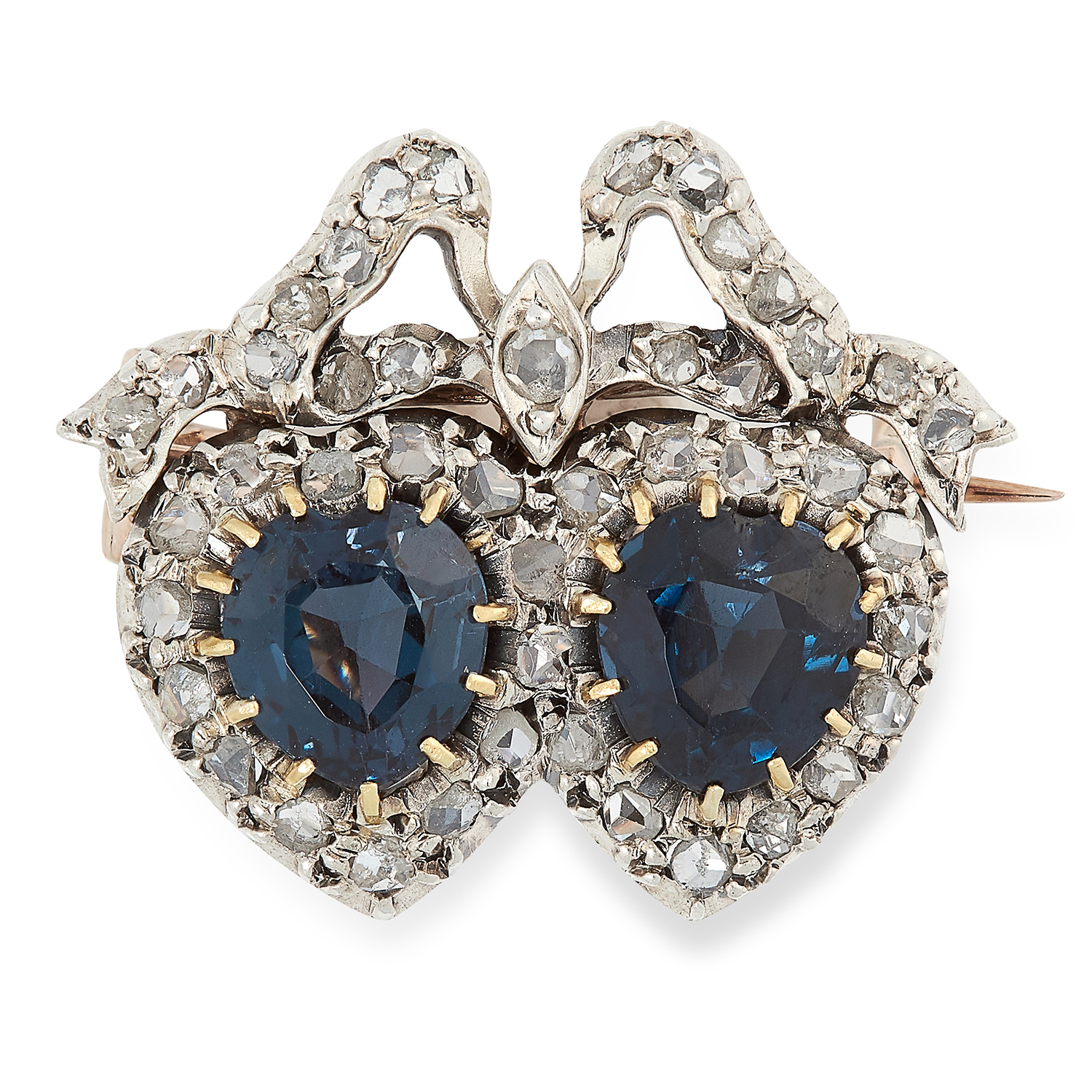 Los 3 - AN ANTIQUE VICTORIAN SAPPHIRE AND DIAMOND SWEETHEART BROOCH set with heart cut sapphires and rose