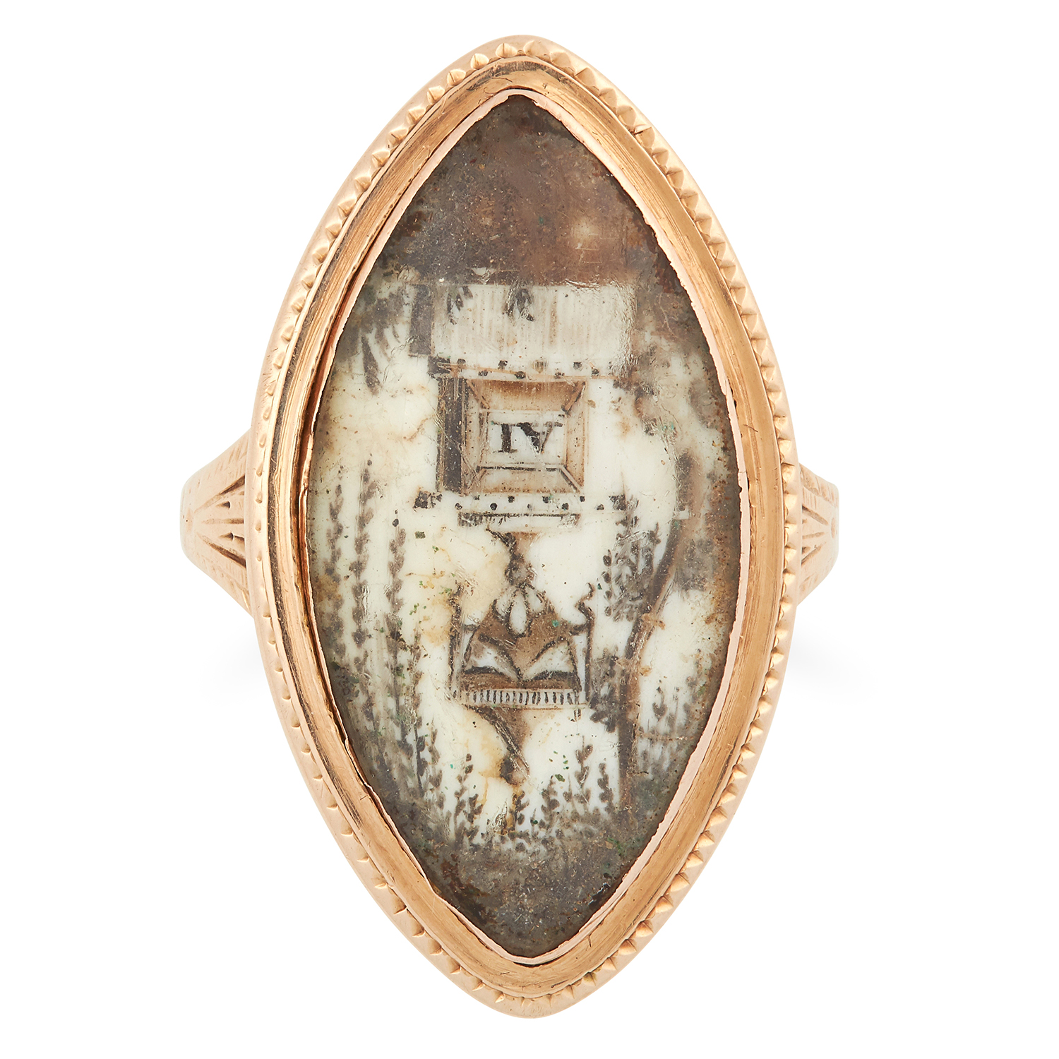 Los 13 - ANTIQUE MINIATURE MOURNING RING, CIRCA 1785 set with a painted scene depicting an urn, initialled