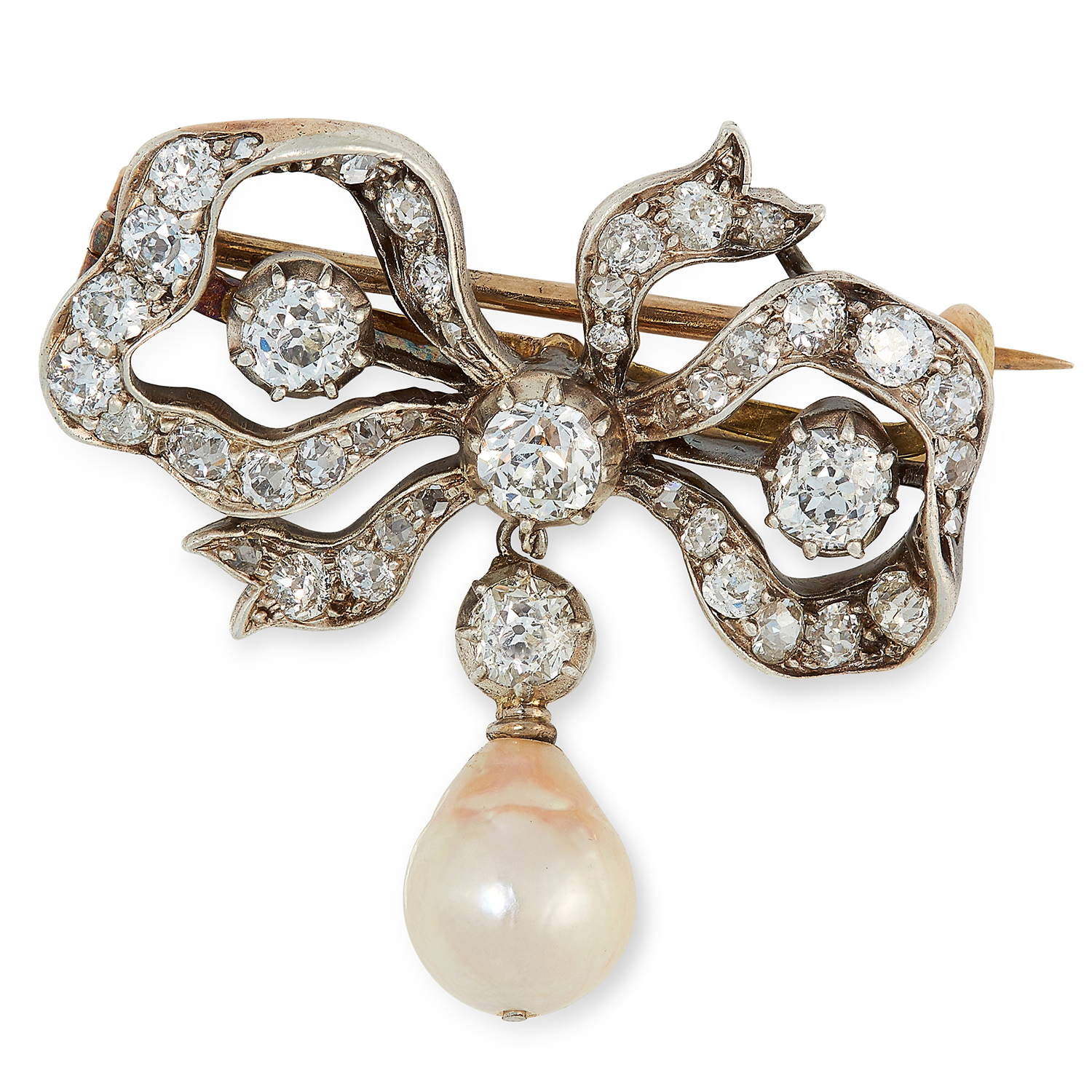 Los 6 - AN ANTIQUE DIAMOND AND PEARL BOW BROOCH the bow set with old and rose cut diamonds, suspending a