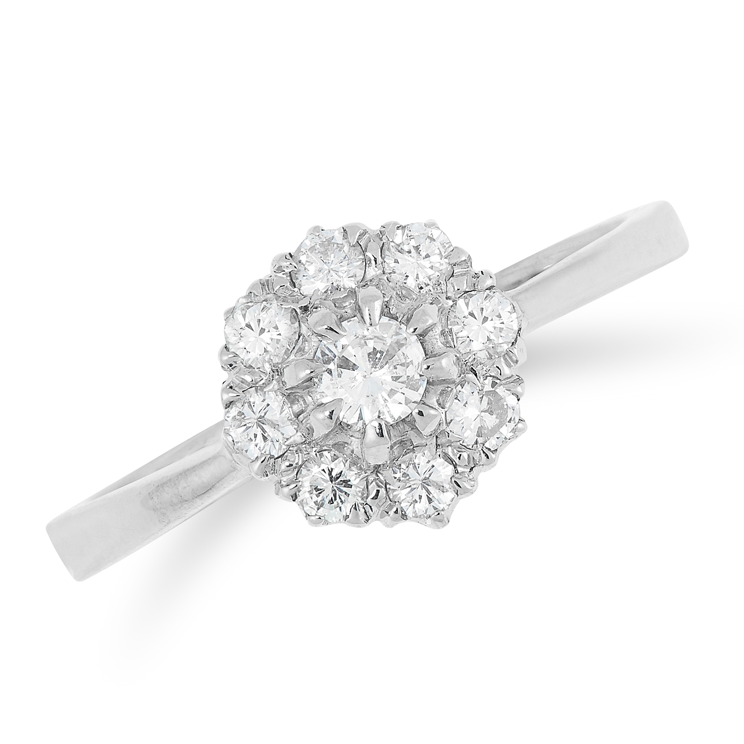 A DIAMOND CLUSTER RING set with a cluster of round cut diamonds, size N / 6.5, 2.9g.