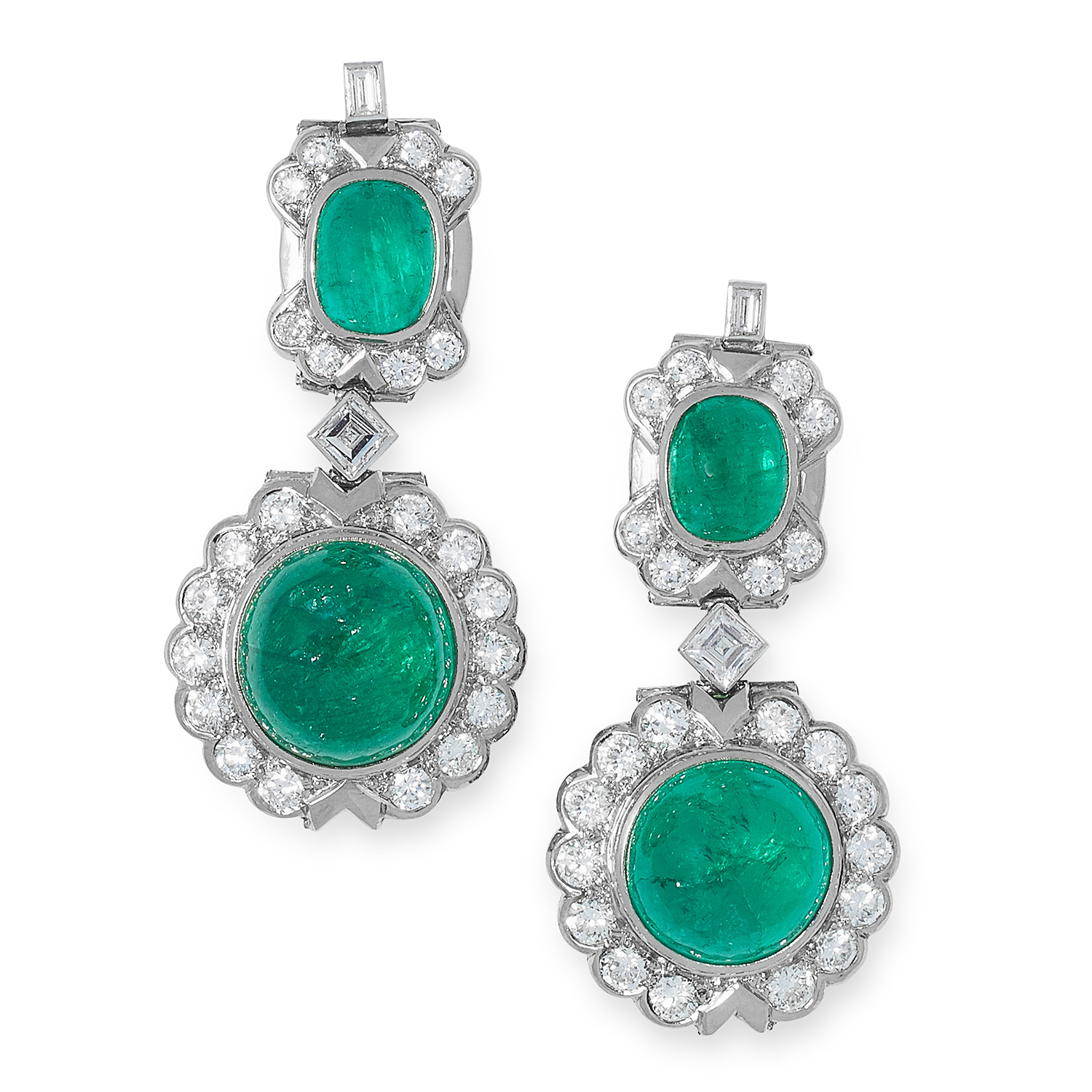 Los 47 - A PAIR OF EMERALD AND DIAMOND EARRINGS set with cabochon emeralds of 11.91, 9.71, 2.52 and 2.29