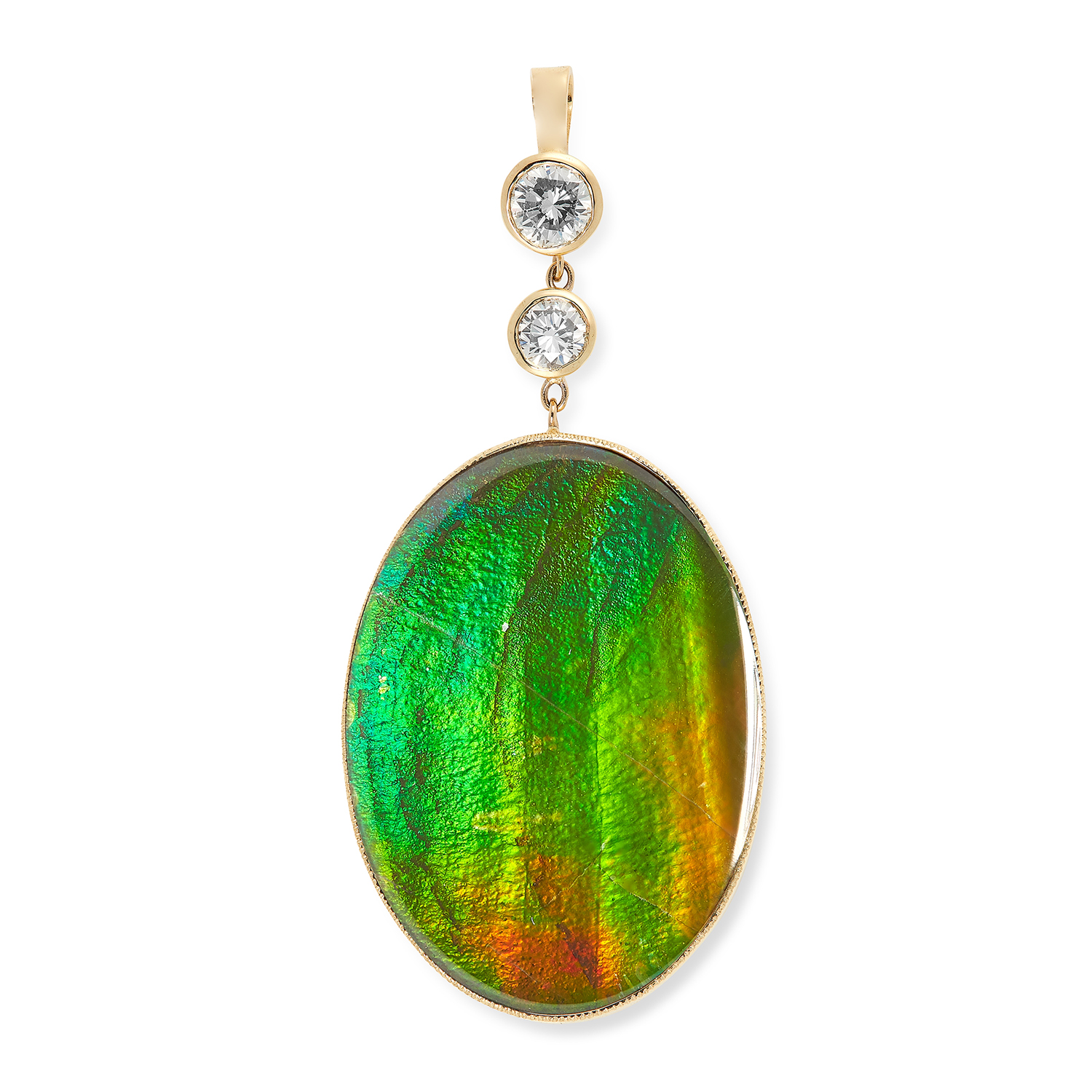 Los 32 - AN AMMOLITE AND DIAMOND PENDANT comprising of a large oval ammolite cabochon below two round cut
