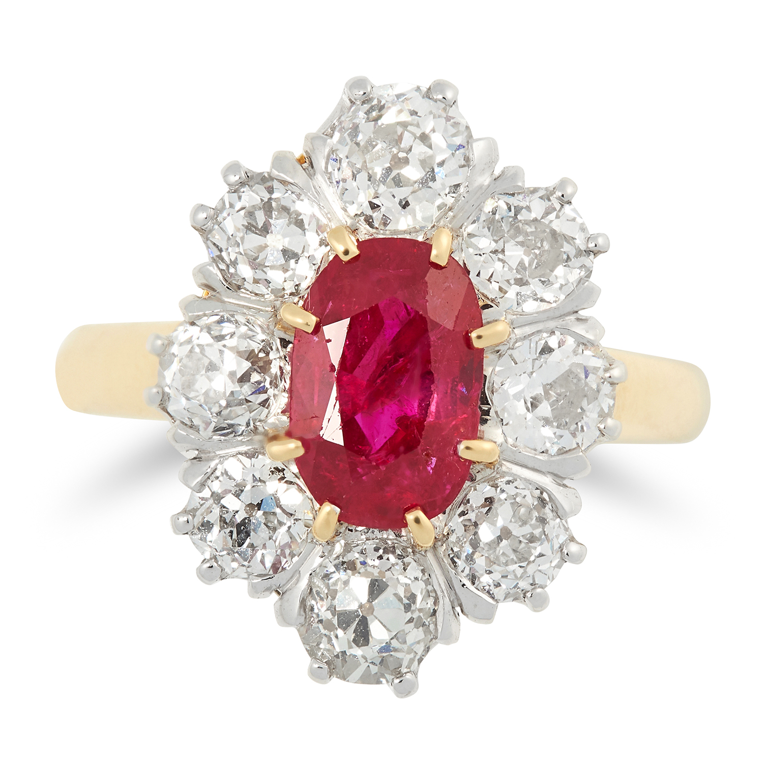 Los 12A - AN ANTIQUE BURMA NO HEAT RUBY AND DIAMOND RING set with an oval cut ruby of approximately 3.0 carats