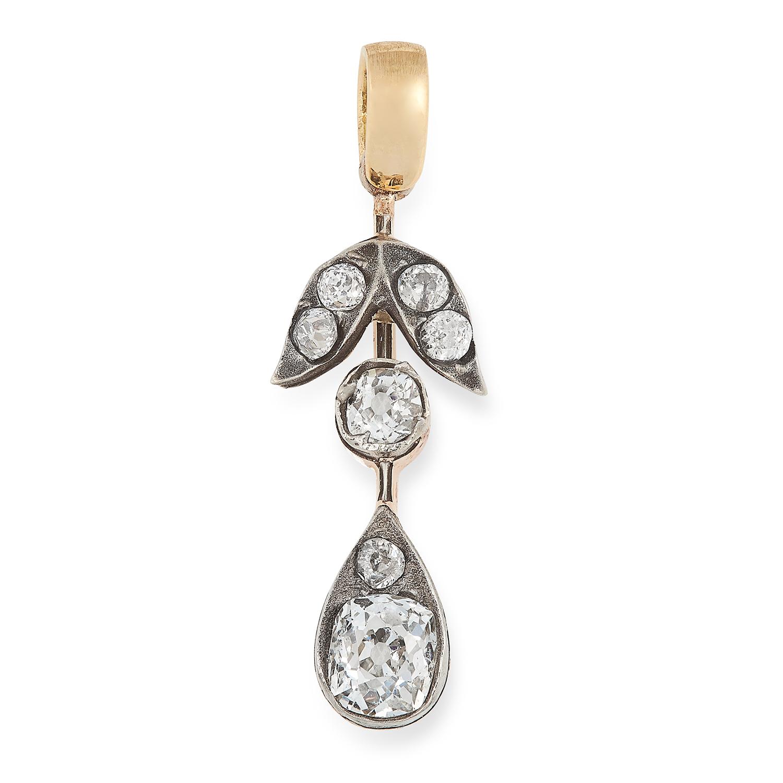 AN ANTIQUE DIAMOND DROP PENDANT designed as a floral drop motif set with a principal old cut diamond