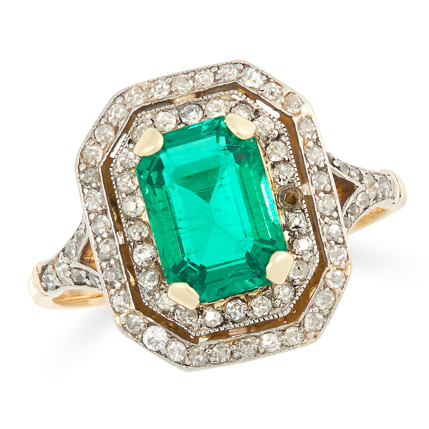 Los 29A - A 1.77 CARAT COLOMBIAN EMERALD AND DIAMOND RING set with a step cut emerald of 1.77 carats encircled