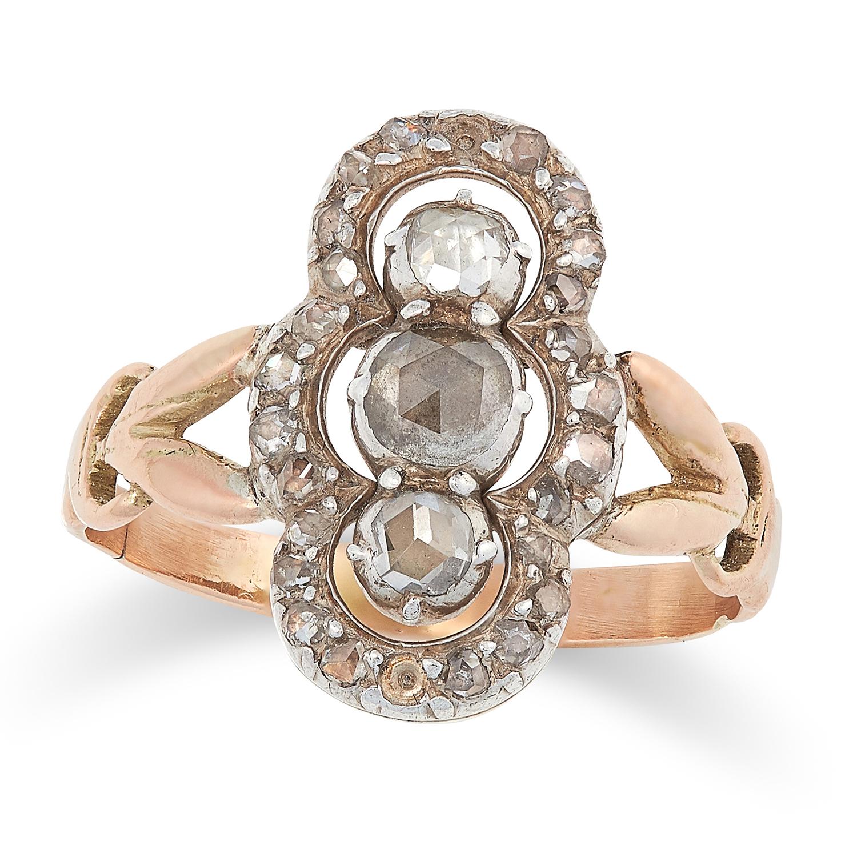 Los 26 - AN ANTIQUE DIAMOND RING, 19TH CENTURY set with rose cut diamonds, size K / 5, 2.4g.