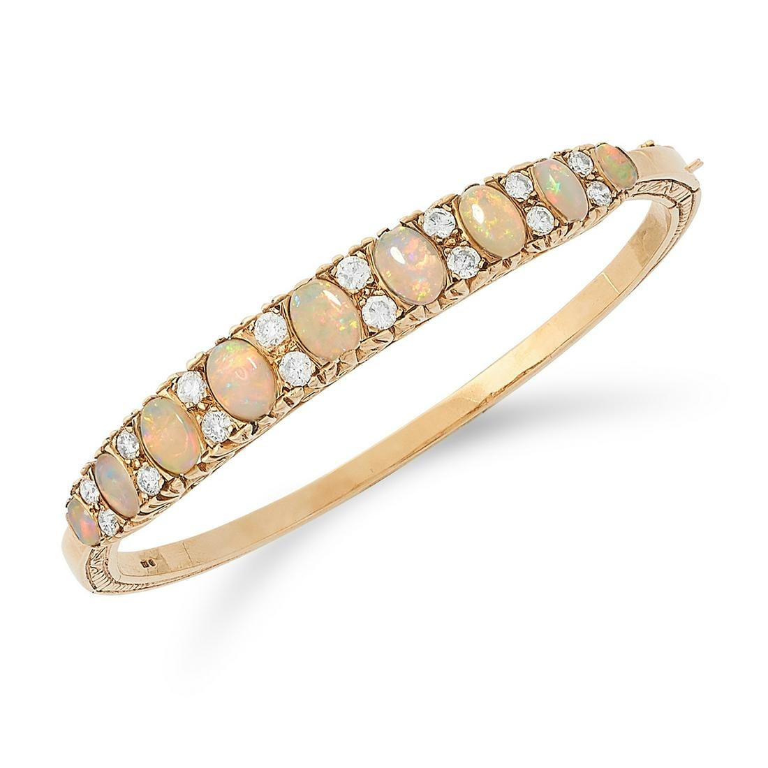 Los 10 - AN OPAL AND DIAMOND BANGLE set with alternating cabochon opals and round cut diamonds, 6cm inner