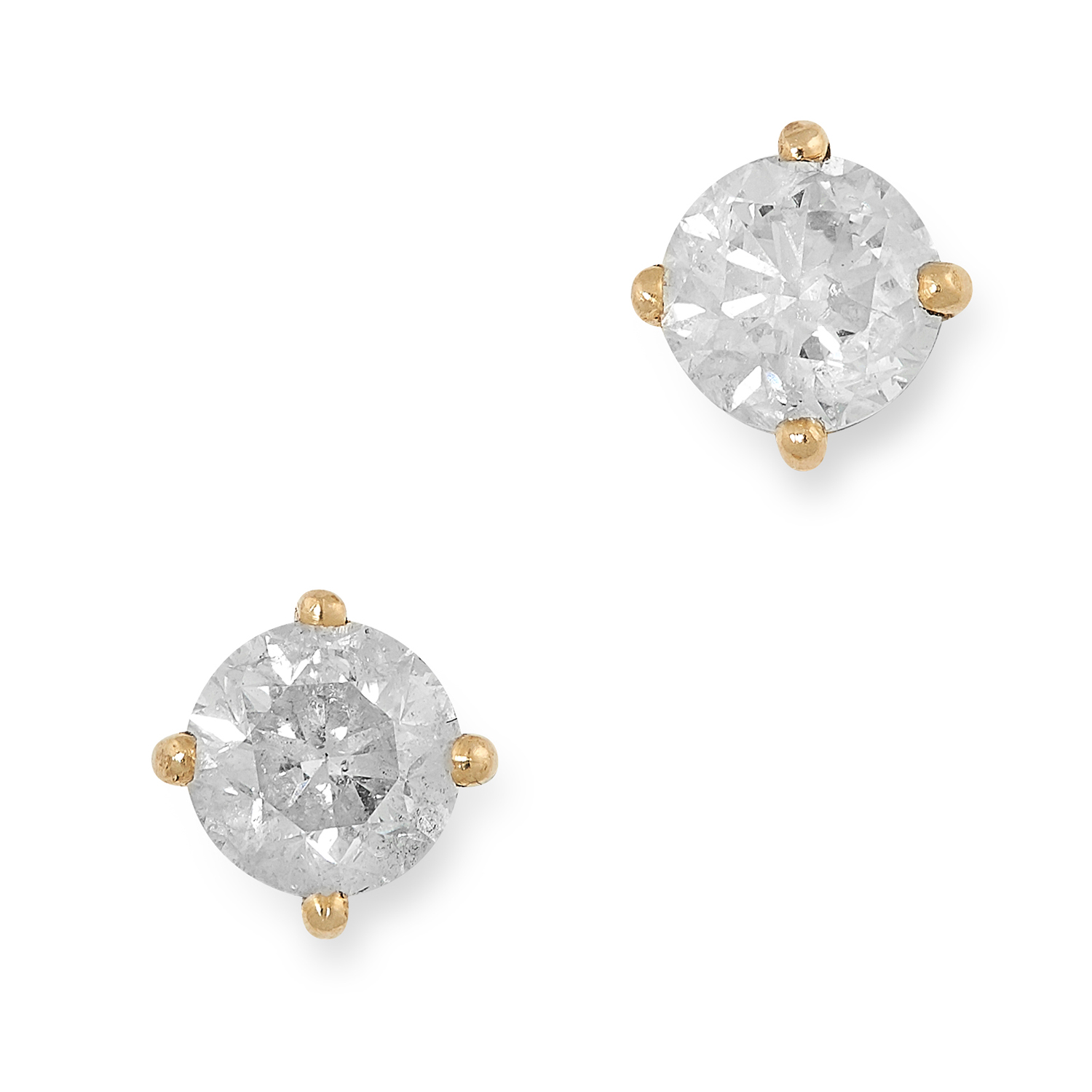 Los 5A - A PAIR OF 2.0 CARAT DIAMOND STUD EARRINGS each set with a round brilliant cut diamond of 1.0 carats,