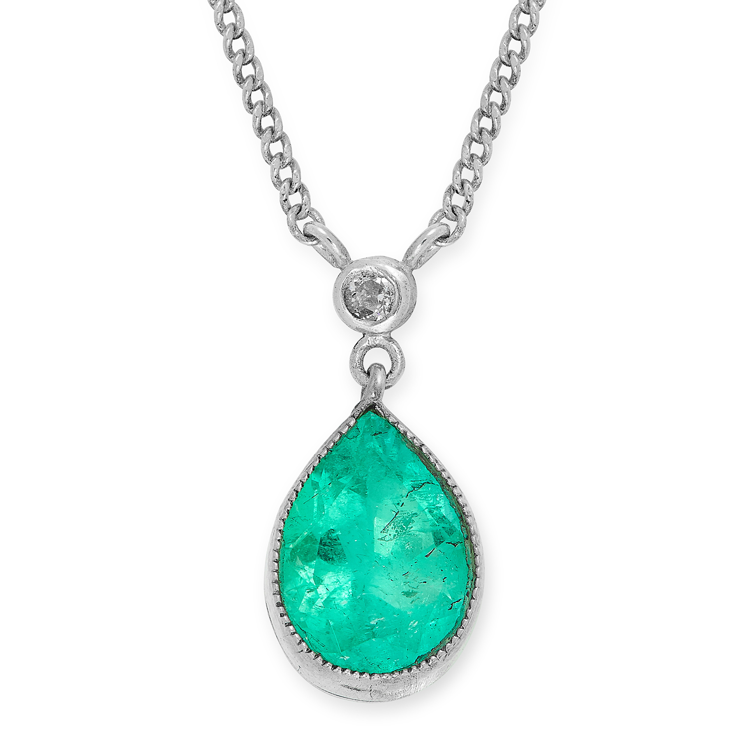 Los 17 - A COLOMBIAN EMERALD AND DIAMOND NECKLACE set with a pear cut emerald of 2.67 carats accented by a