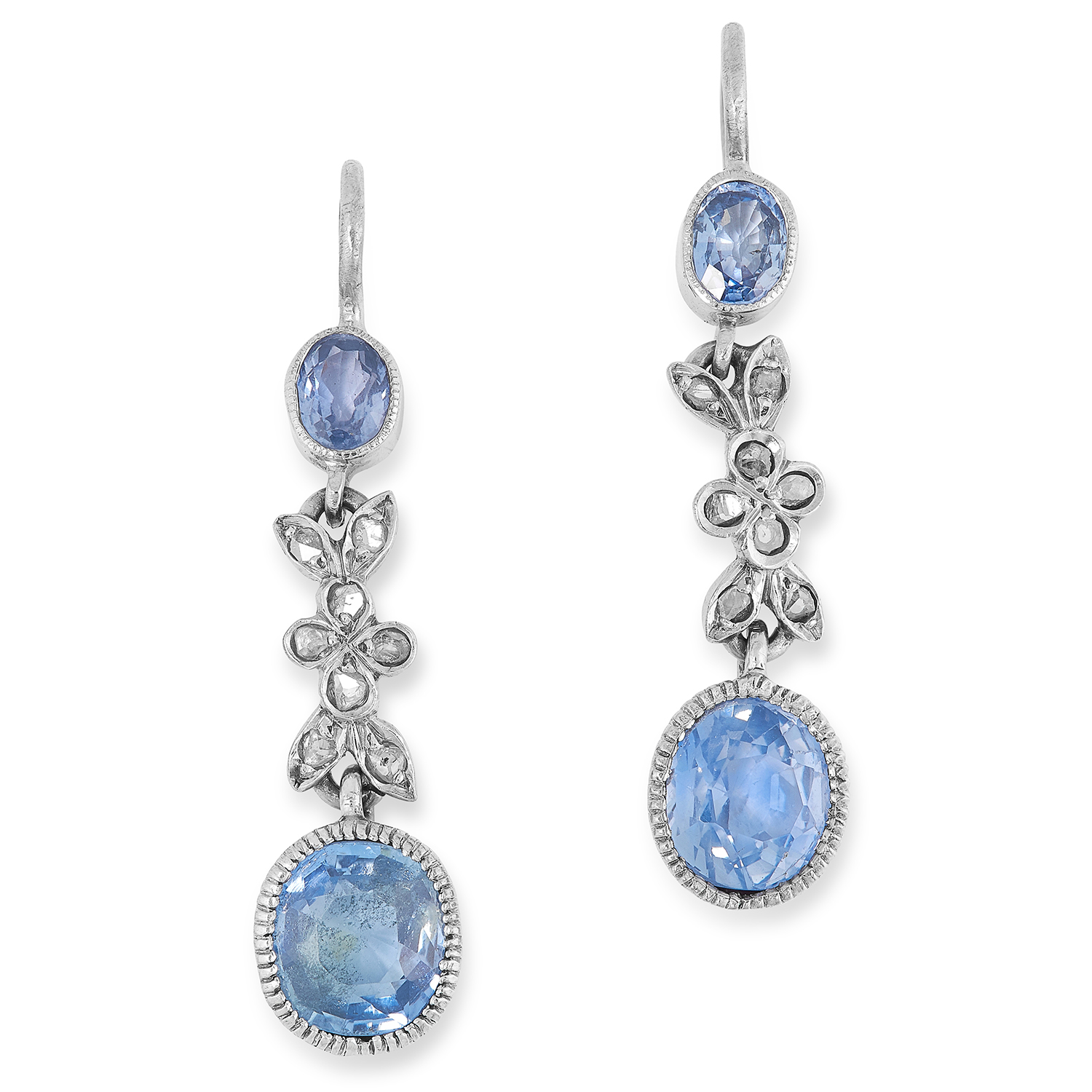 Los 4 - A PAIR OF ANTIQUE CEYLON SAPPHIRE AND DIAMOND EARRINGS set with oval cut sapphires totalling 6.0-6.5
