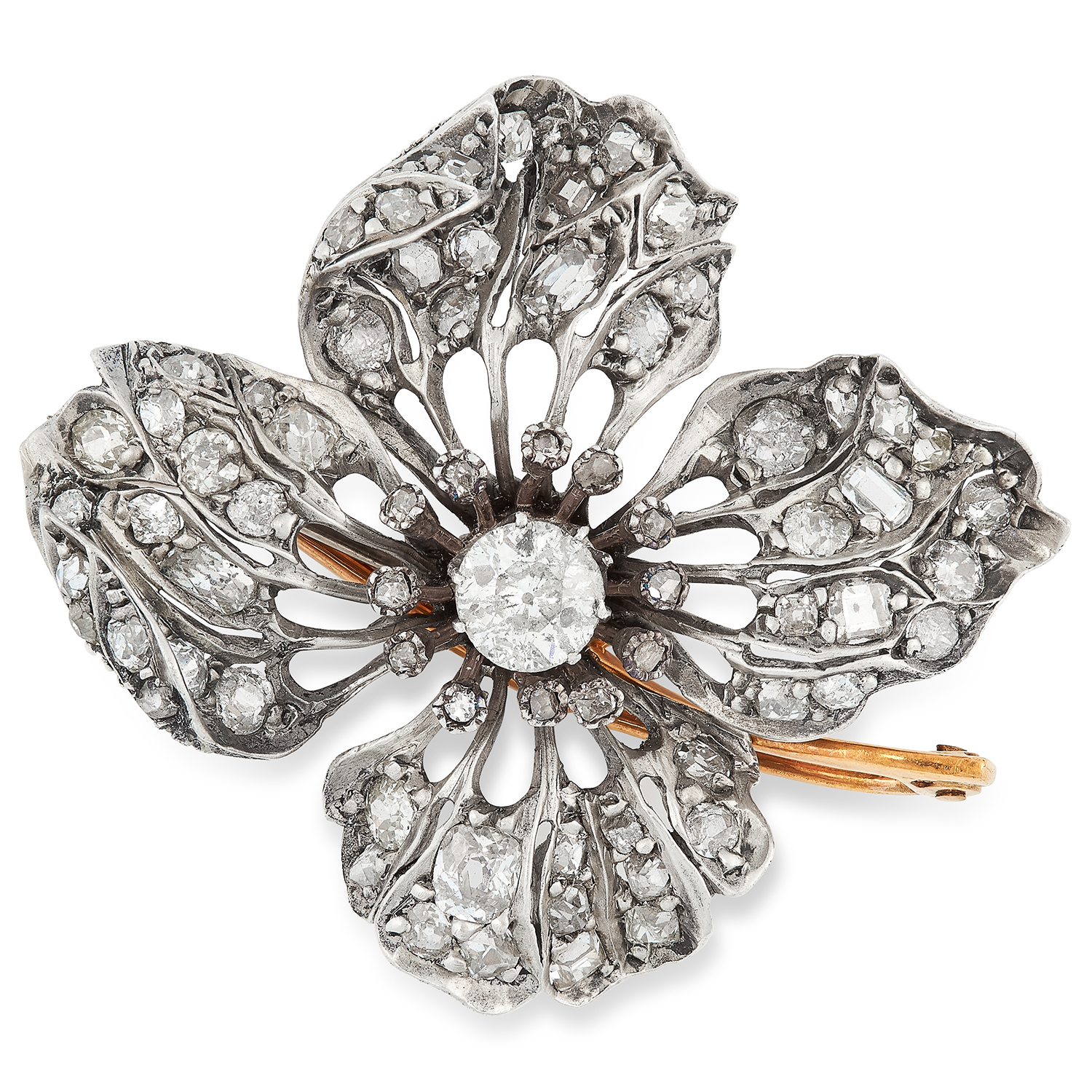 Los 20 - AN ANTIQUE DIAMOND FLOWER RING / BROOCH / PENDANT the flower head design set with a principal old