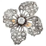 AN ANTIQUE DIAMOND FLOWER RING / BROOCH / PENDANT the flower head design set with a principal old