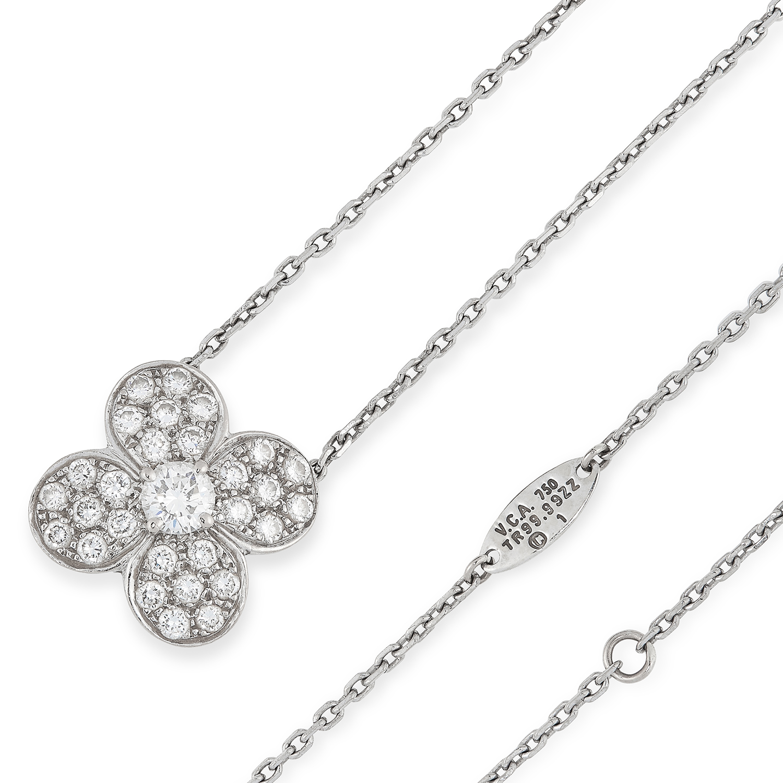 Los 6A - A DIAMOND TREFLE NECKLACE, VAN CLEEF & ARPELS the quatrefoil flower motif set with a central round