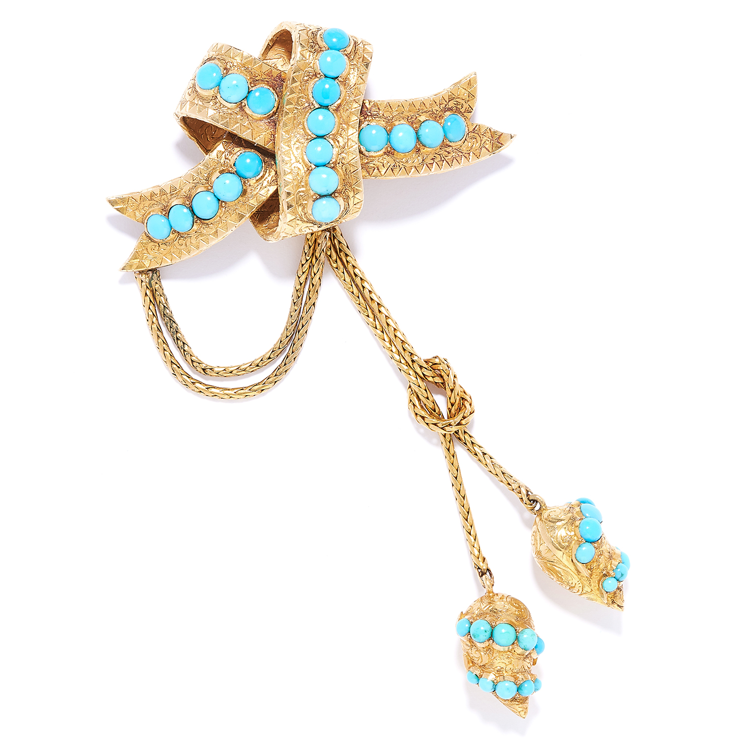 ANTIQUE TURQUOISE HAIRWORK MORNING BROOCH, 19TH CENTURY in high carat yellow gold, designed as a bow