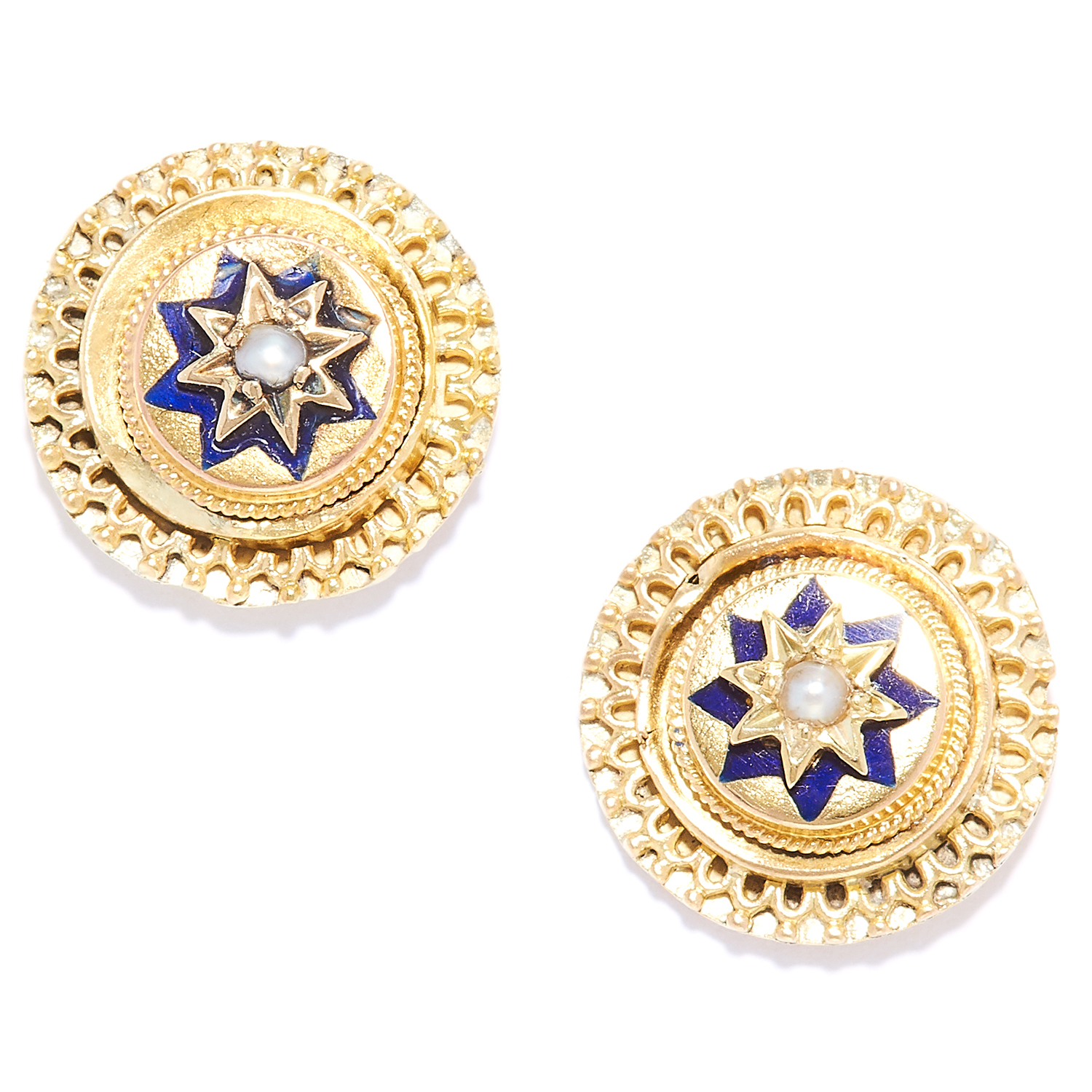 Los 8 - ANTIQUE PEARL AND ENAMEL ETRUSCAN REVIVAL EARRINGS in high carat yellow gold, each set with blue