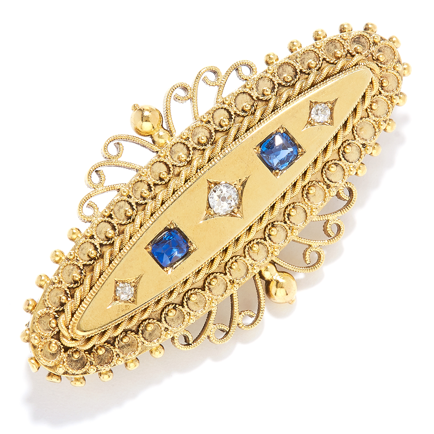 Los 10 - ANTIQUE SAPPHIRE AND DIAMOND BROOCH in high carat yellow gold, set with alternating old cut diamonds