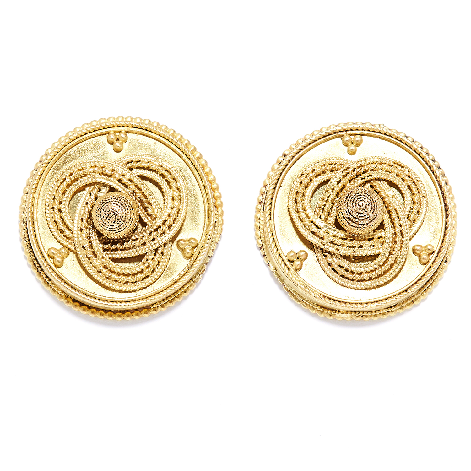 Los 2 - ANTIQUE ETRUSCAN REVIVAL EARRINGS, 19TH CENTURY in high carat yellow gold, in Etruscan revival