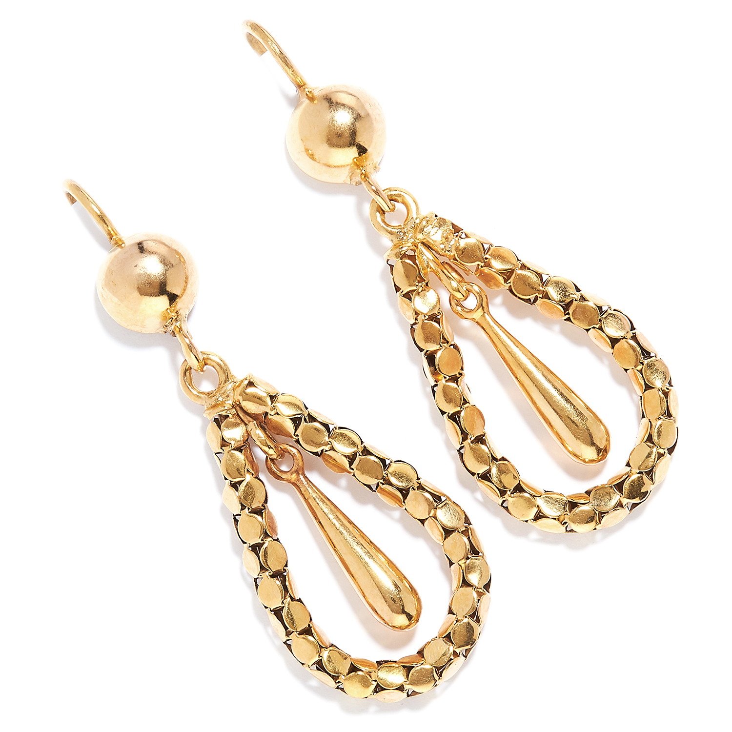 Los 16 - ANTIQUE GOLD DROP EARRINGS, 19TH CENTURY in high carat yellow gold, designed as a gold drop,