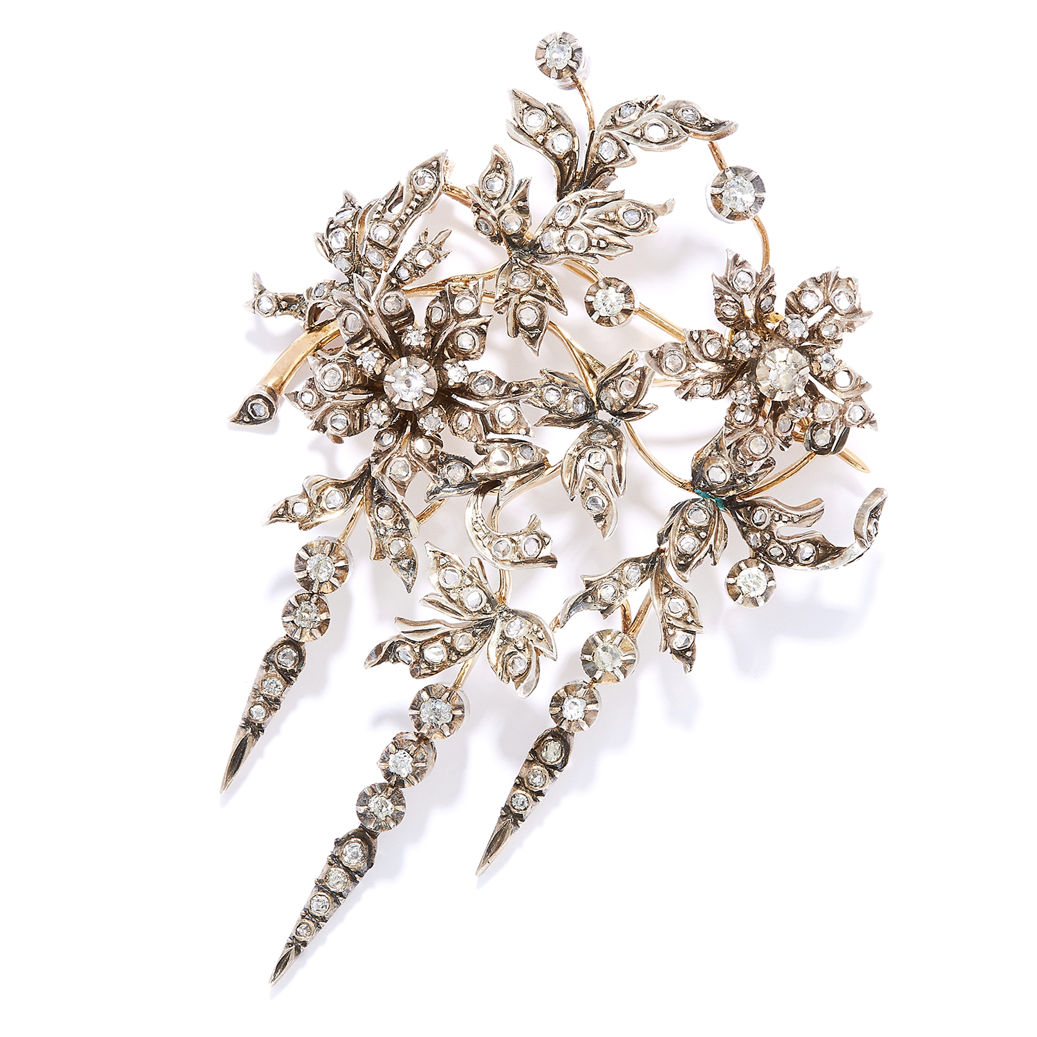 Los 29 - ANTIQUE DIAMOND EN TREMBLANT BROOCH in high carat yellow gold, in flower spray form, set with old