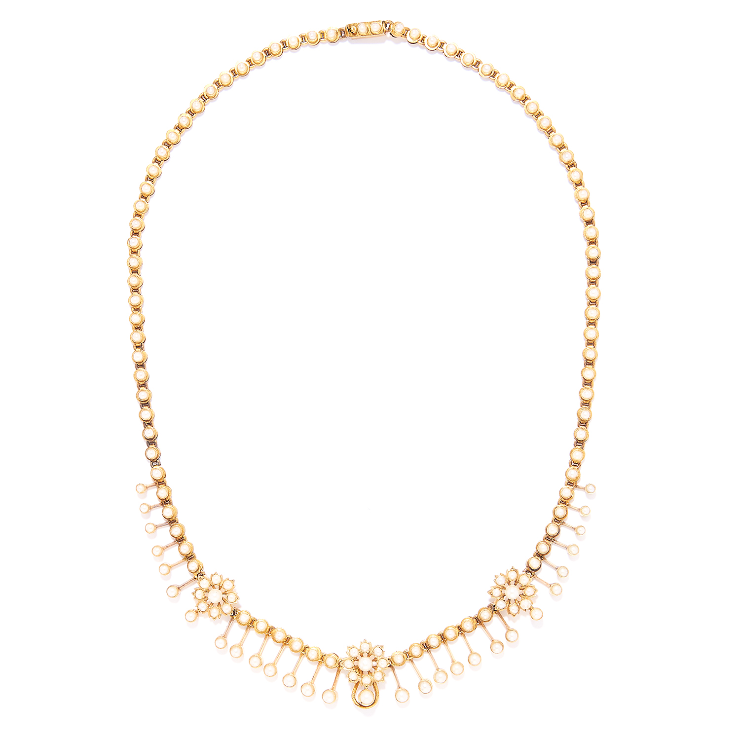 Los 18 - ANTIQUE PEARL NECKLACE in high carat yellow gold, set with seed pearls in foliate fringe design,
