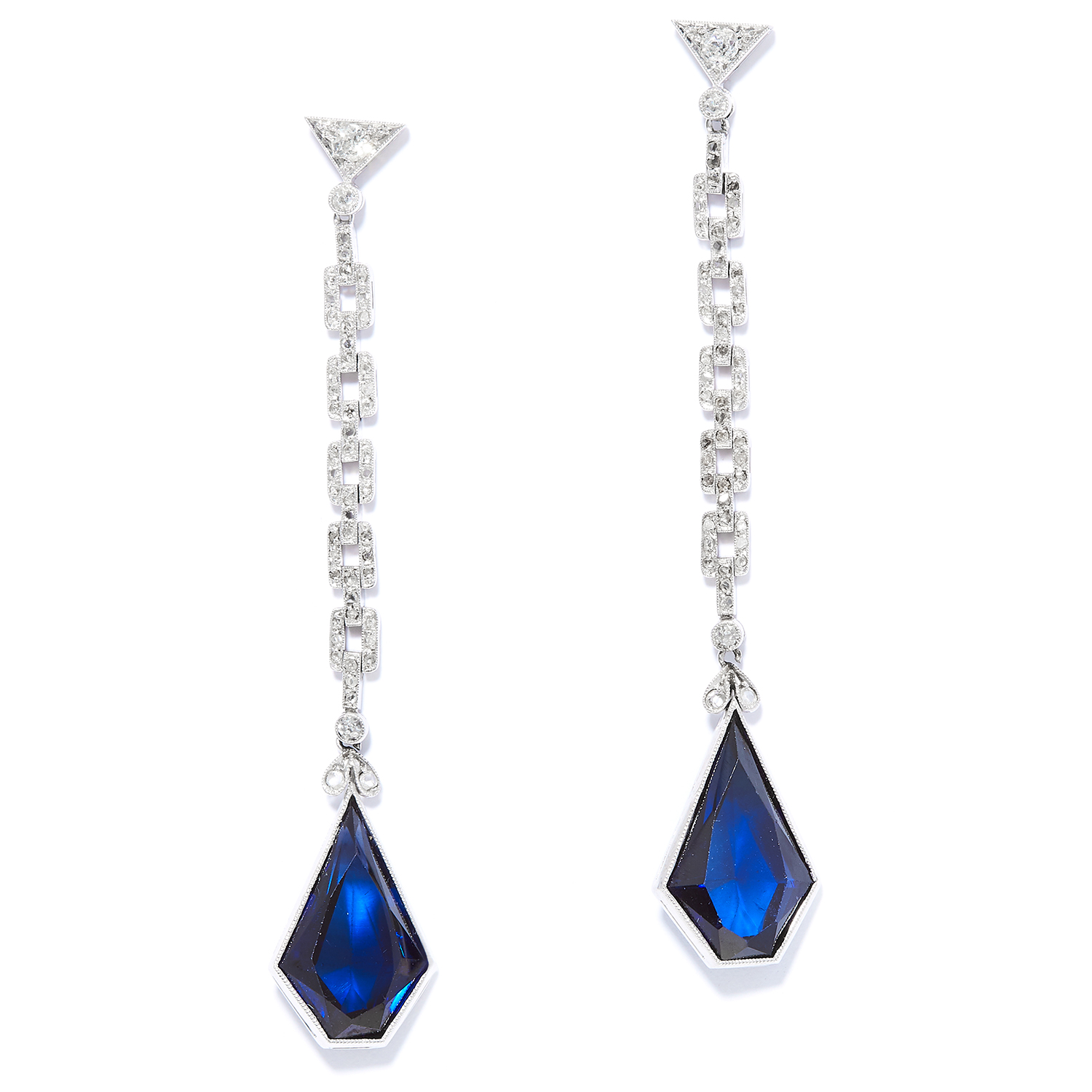 Los 24 - SAPPHIRE AND DIAMOND EARRINGS in 18ct white gold, each set with round cut diamonds suspending a