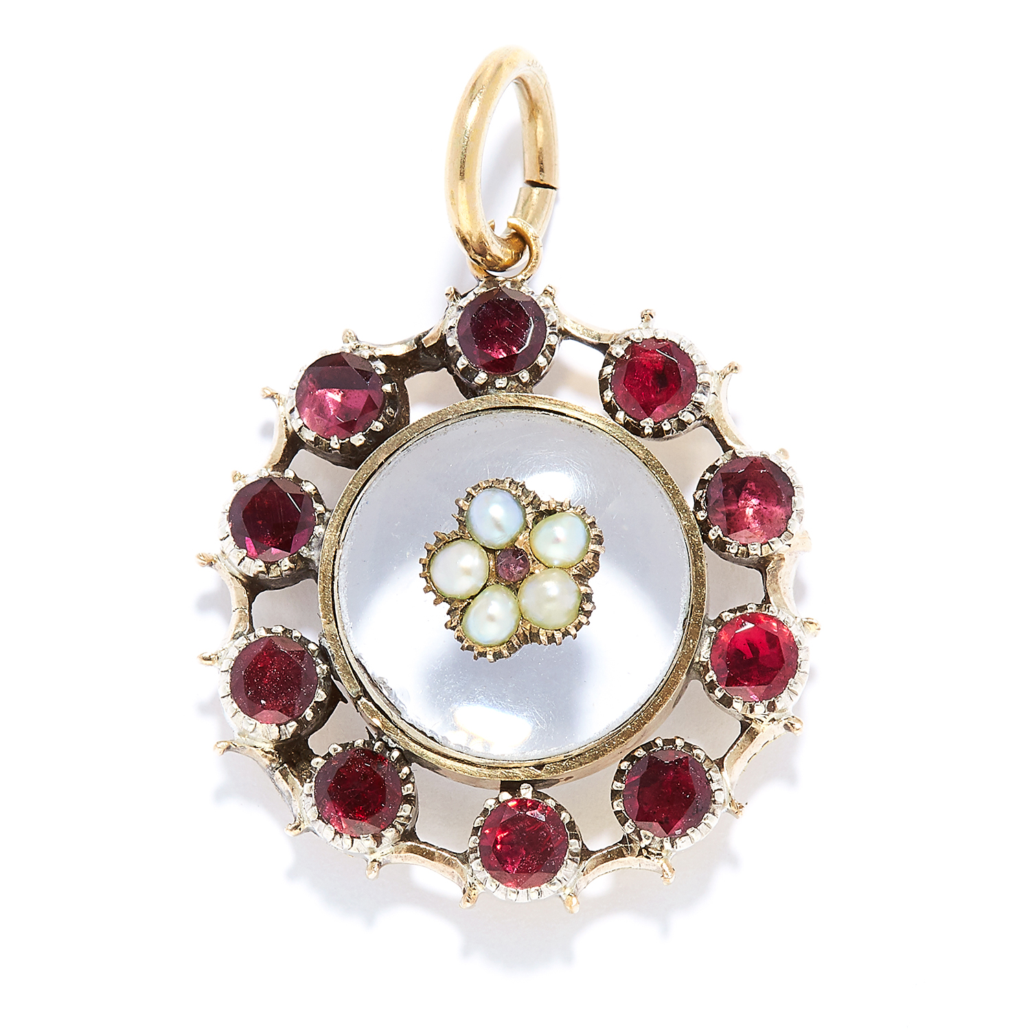ANTIQUE GARNET, PEARL AND ROCK CRYSTAL PENDANT in high carat yellow gold, comprising of a cabochon