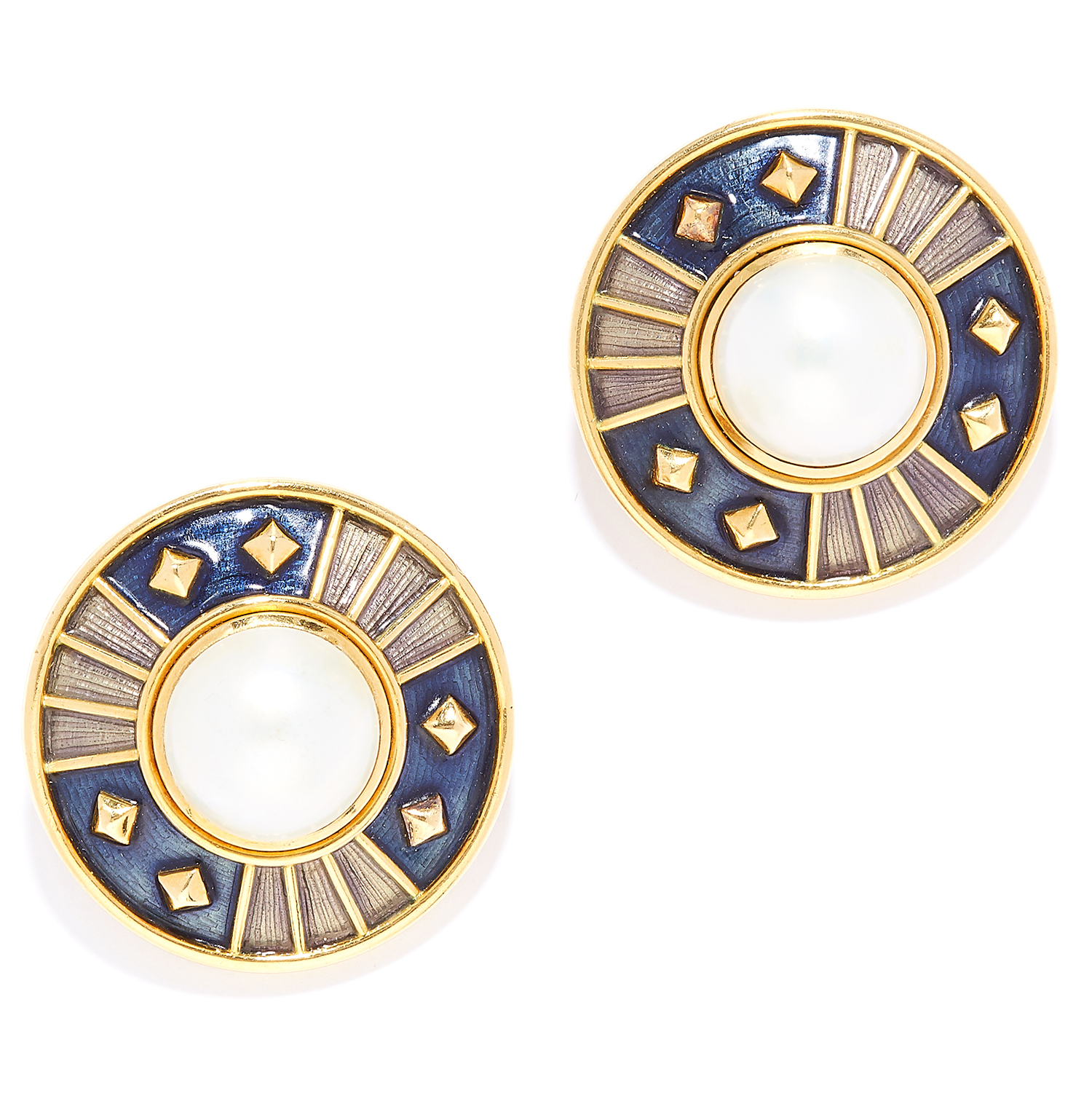 Los 52 - PEARL AND ENAMEL CLIP EARRINGS, LEO DE VROOMEN in 18ct yellow gold each set with a mabe pearl