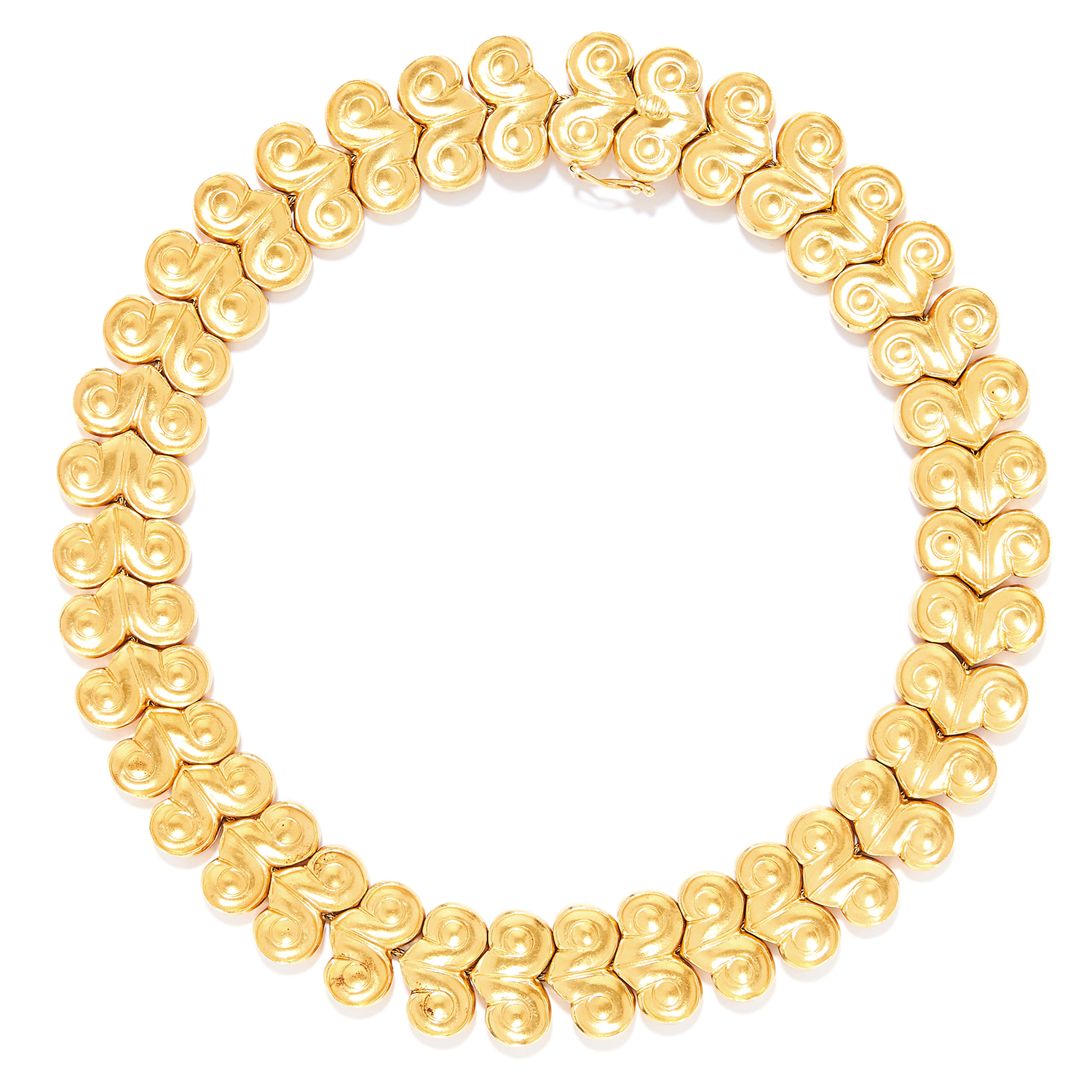 Los 53 - VINTAGE GOLD NECKLACE, LALAOUNIS, CIRCA 1960 in 18ct yellow gold, in collar style with engraved
