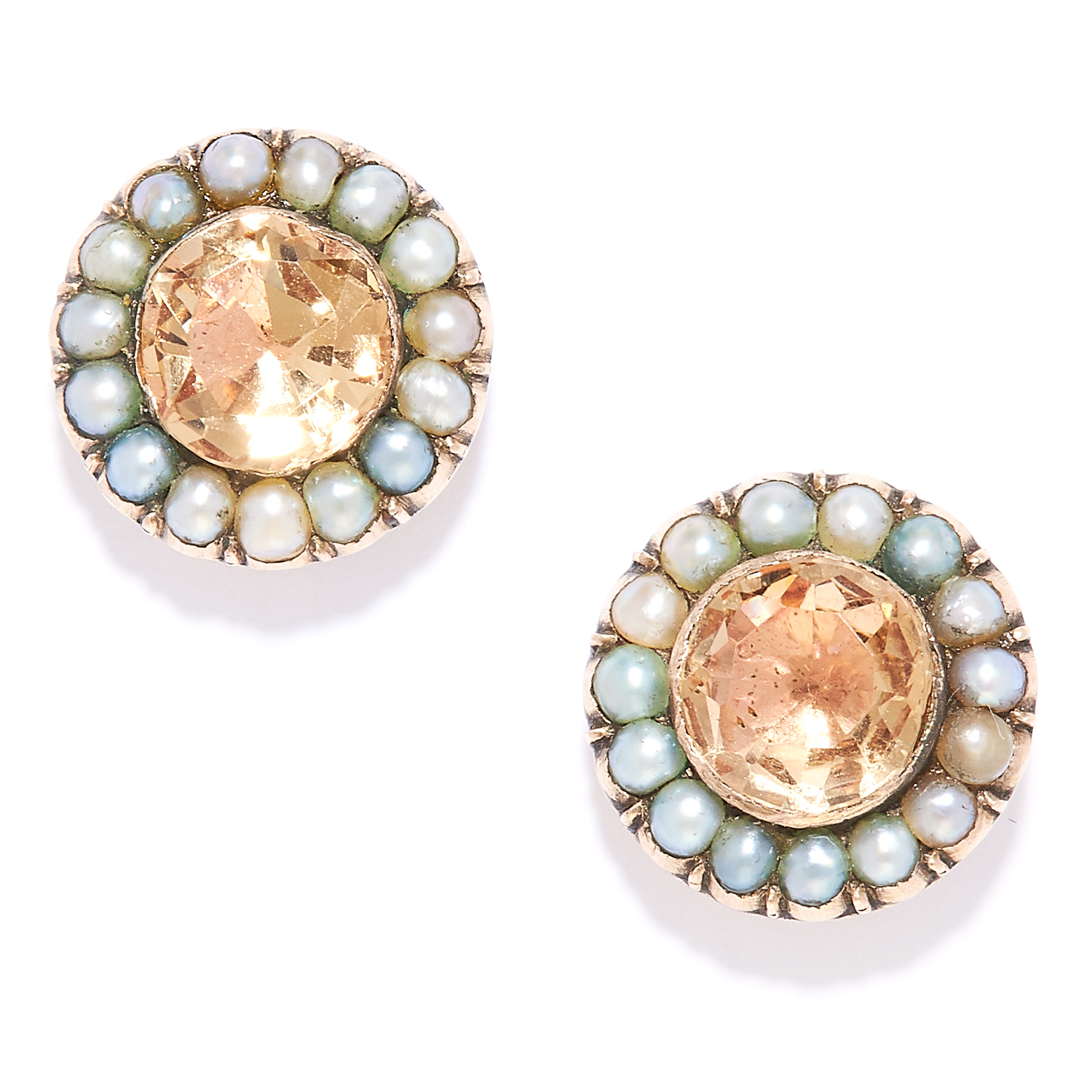 Los 19 - ANTIQUE IMPERIAL TOPAZ AND PEARL EARRINGS in yellow gold, set with two imperial topaz totalling