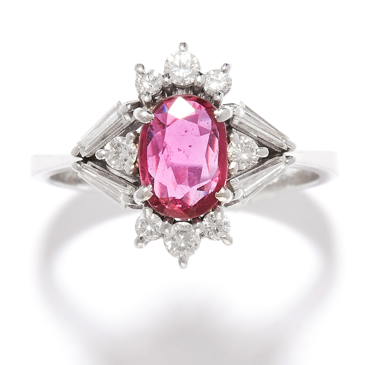 RUBY AND DIAMOND RING, H.STERN in 18ct white gold, set with an oval cut ruby of approximately 0.59