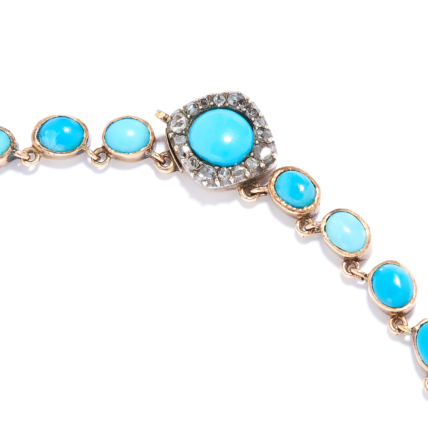 Los 1 - ANTIQUE TURQUOISE AND DIAMOND RIVIERA NECKLACE, 19TH CENTURY in high carat yellow gold, set with