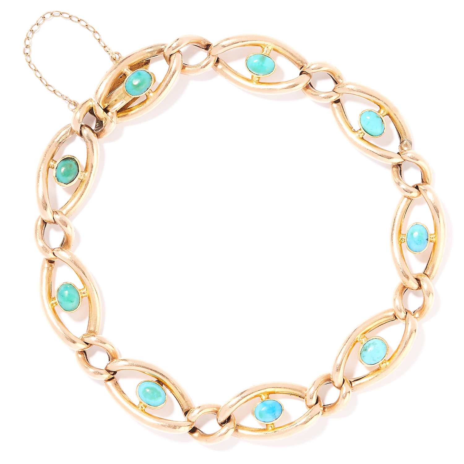 Los 6 - ANTIQUE TURQUOISE BRACELET in 15ct yellow gold, each link is set with a cabochon turquoise,