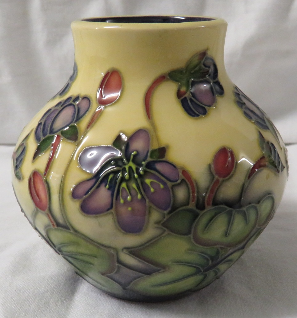 Lot 2 - Moorcroft pottery Hepatica vase designed by Emma Bossons, squat ovoid form, cream ground, purple