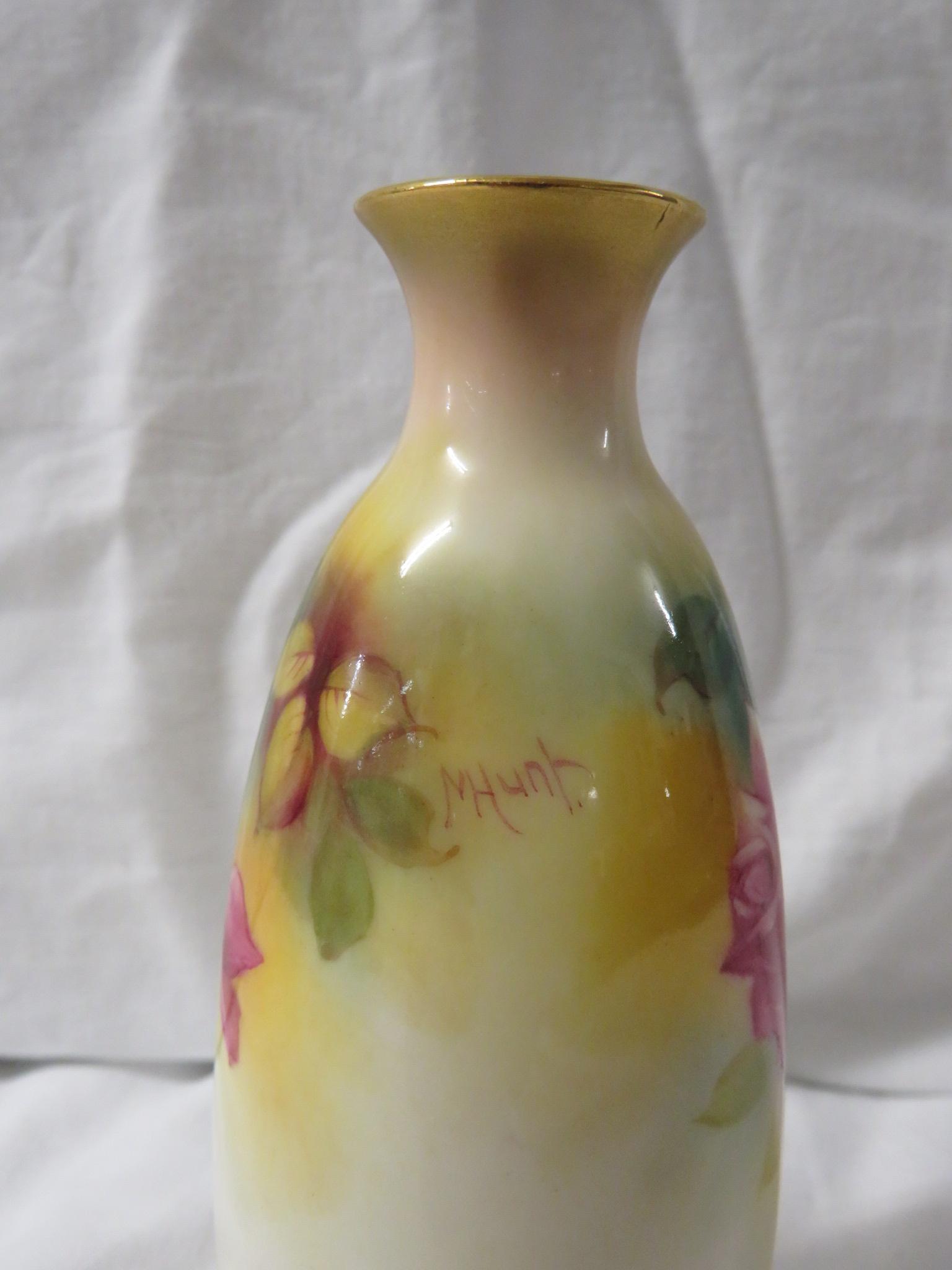 Lot 42 - Royal Worcester porcelain vase, slender ovoid form, hand painted decoration of pink roses, signed