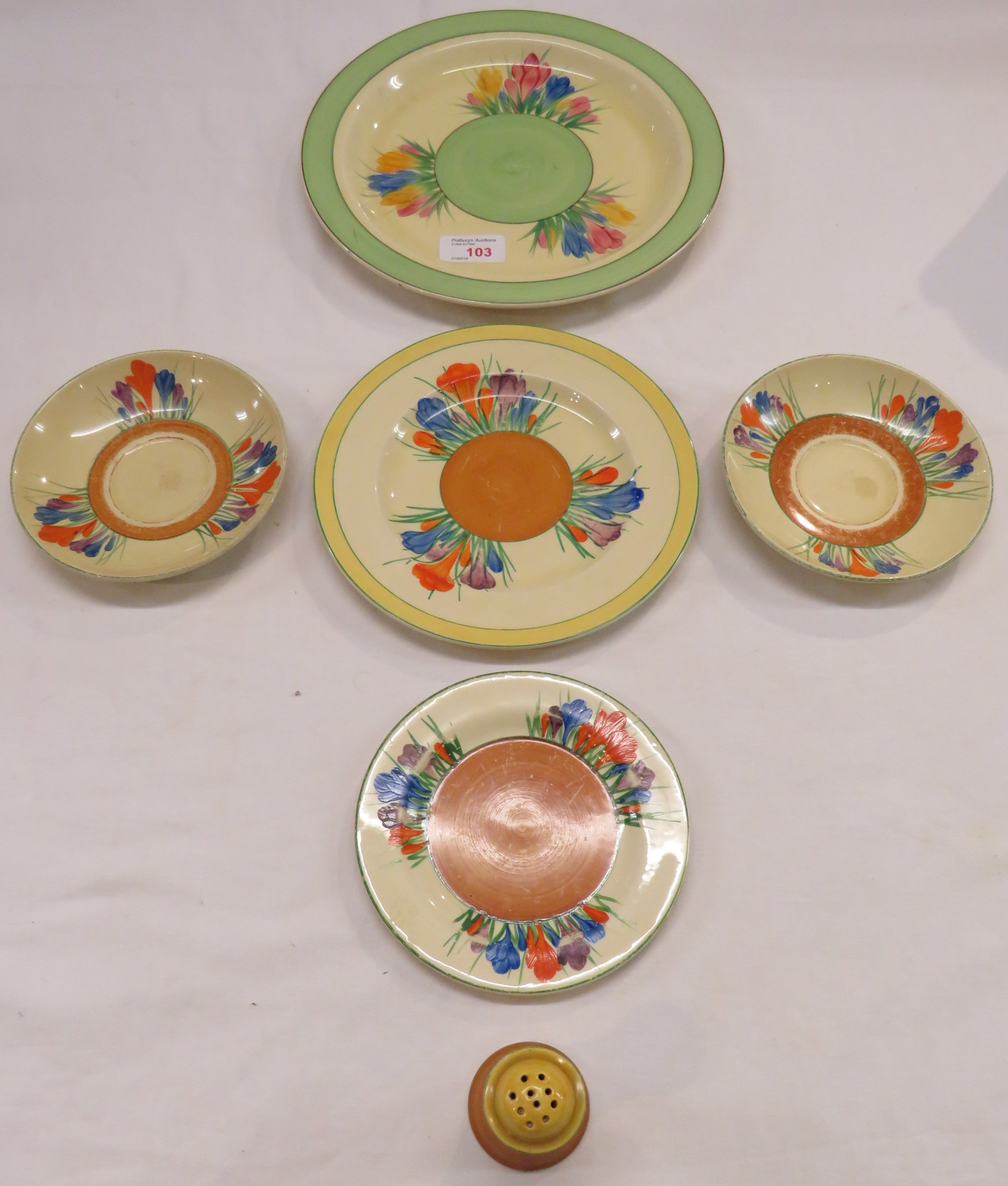 Lot 38 - Clarice Cliff crocus pattern ware - Newport pottery plate and pepper pot, Royal Staffordshire tea