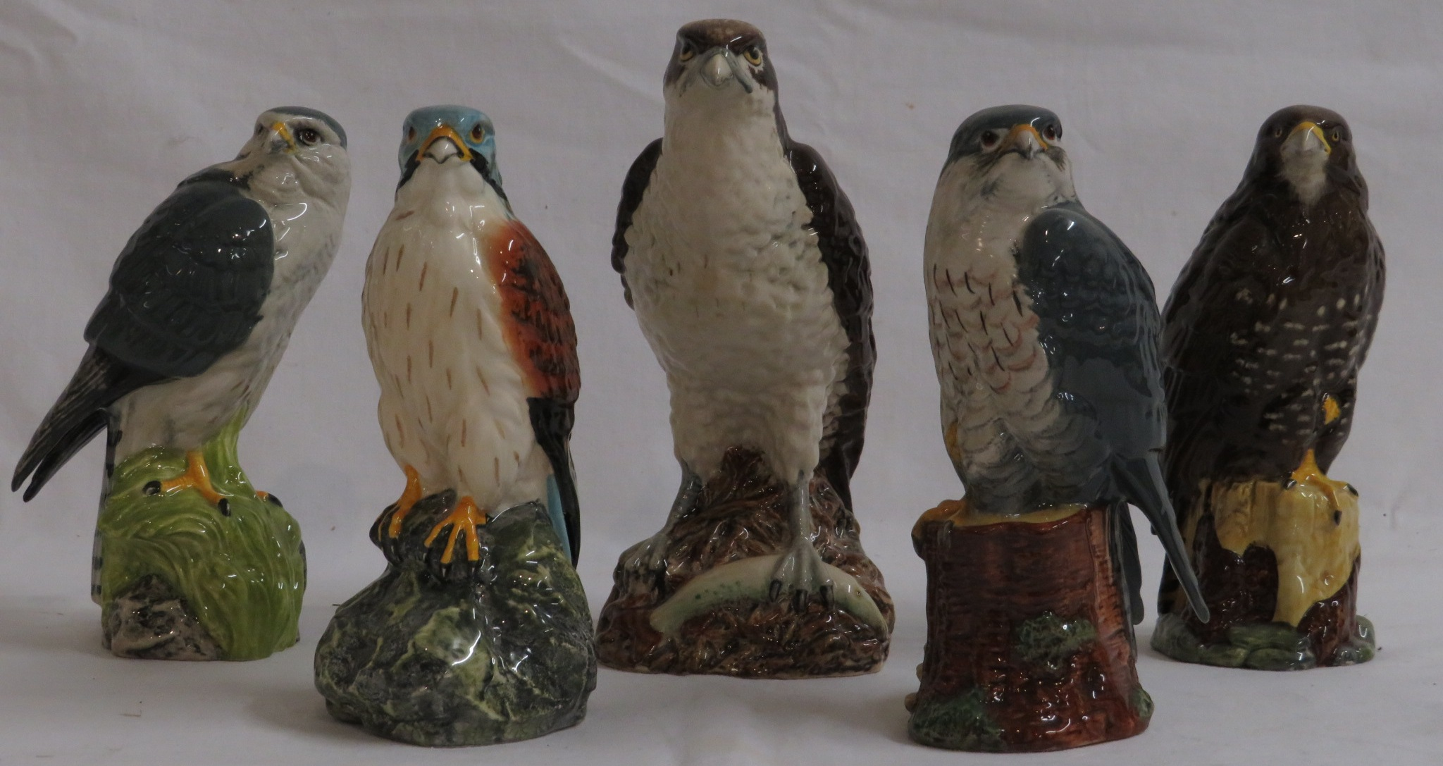 Lot 59 - Four Royal Doulton Whyte & Mackay 200ml whisky decanters modelled by John G. Tongue 1979 as birds of