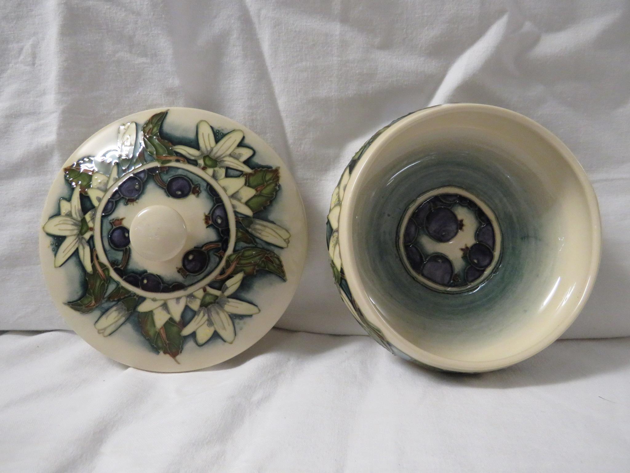 Lot 25 - Moorcroft pottery Juneberry squat jar designed by Angela Davenport, cream ground, tube lined