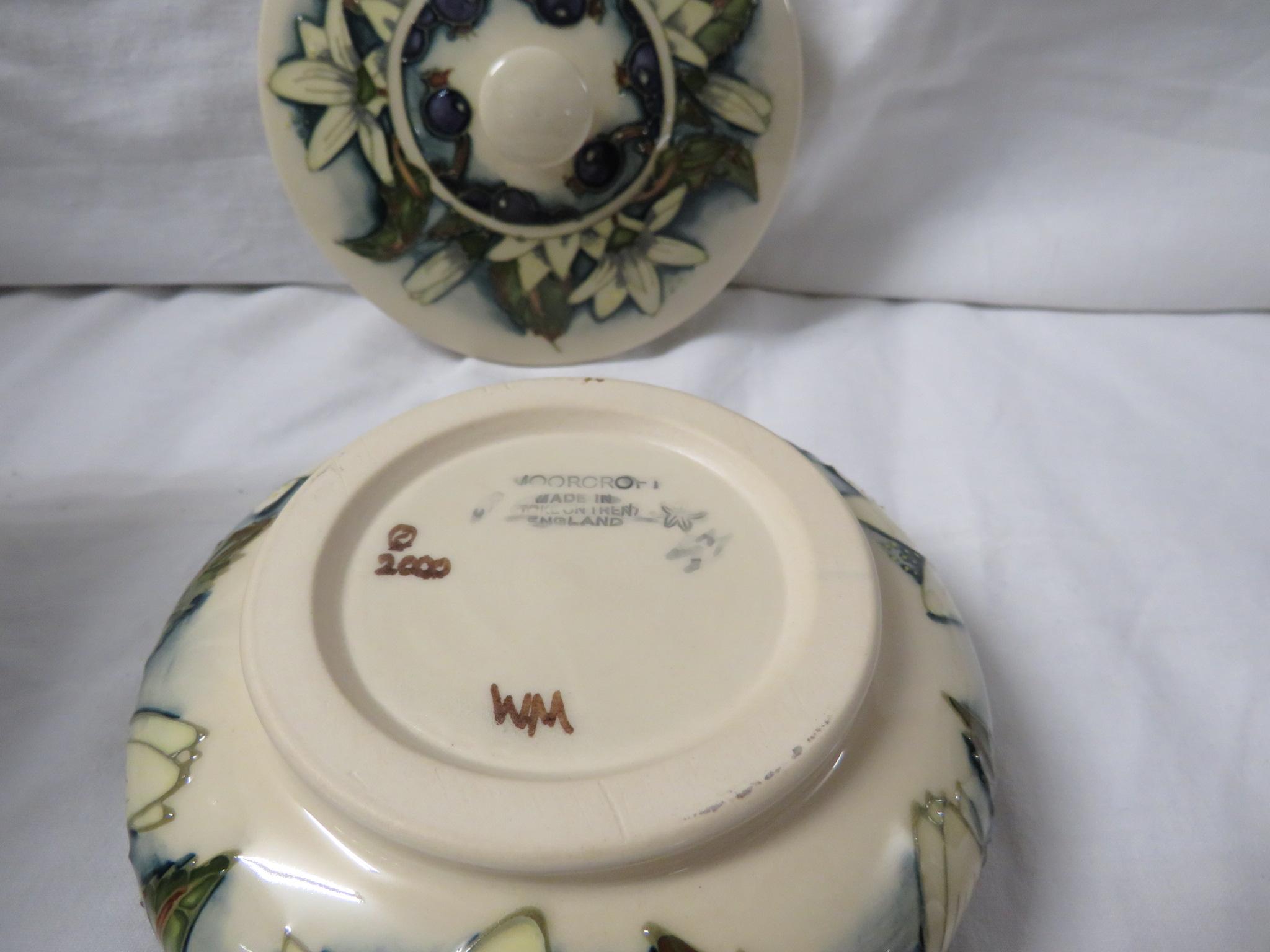 Moorcroft pottery Juneberry squat jar designed by Angela Davenport, cream ground, tube lined - Image 4 of 4