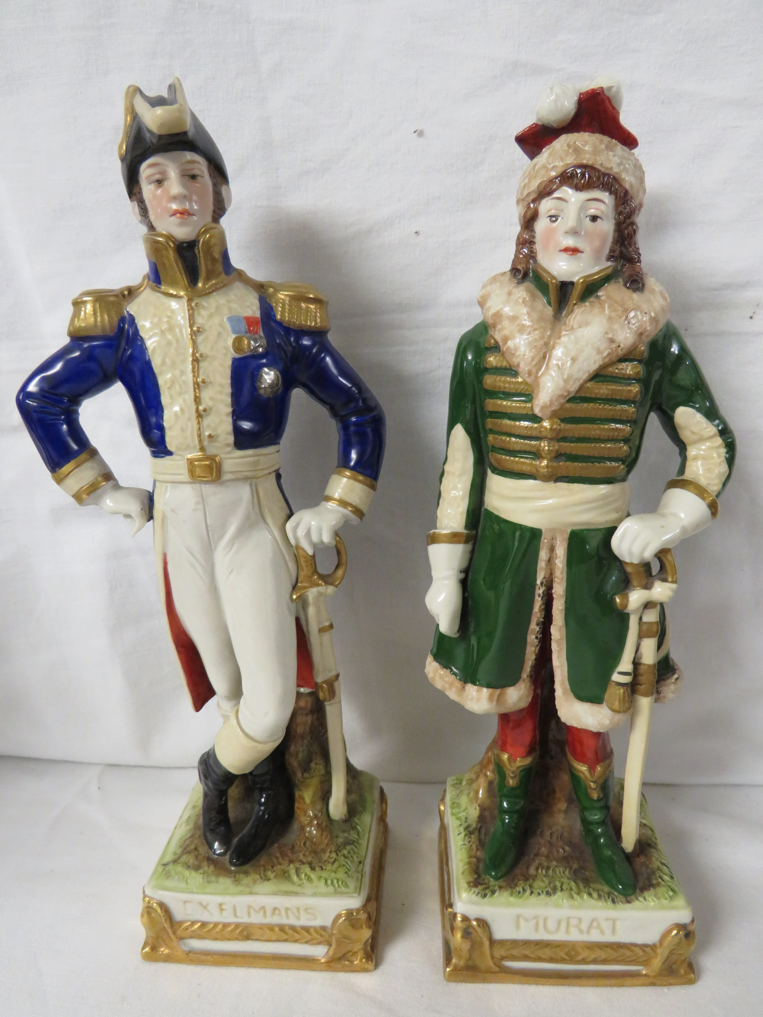 Lot 45 - Six porcelain figures of Napoleonic officers - La Fayette, Murat, Lepic, Exelmans, De Beauharnais,